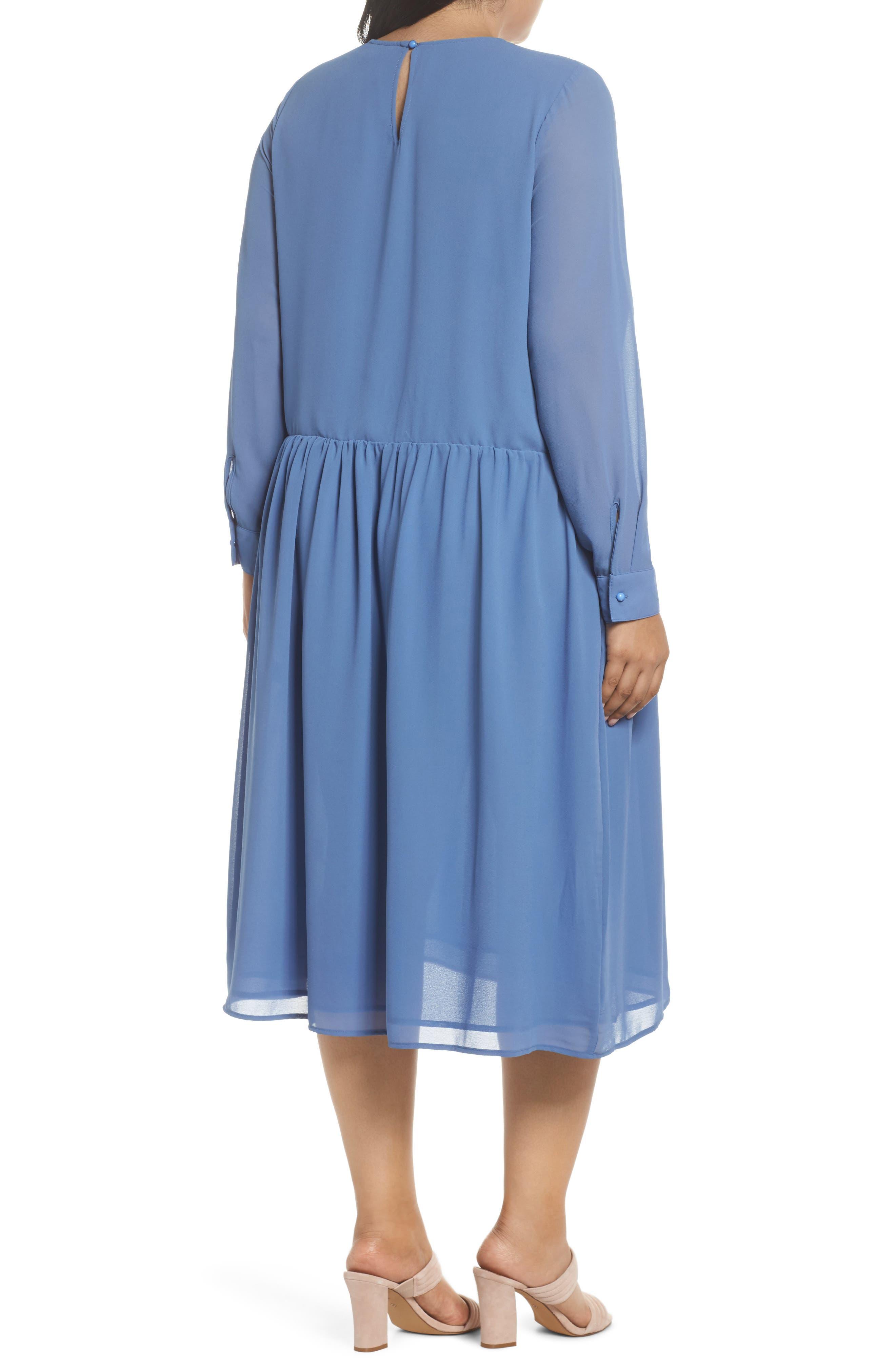 Smocked Chiffon Dress,                             Alternate thumbnail 2, color,                             400