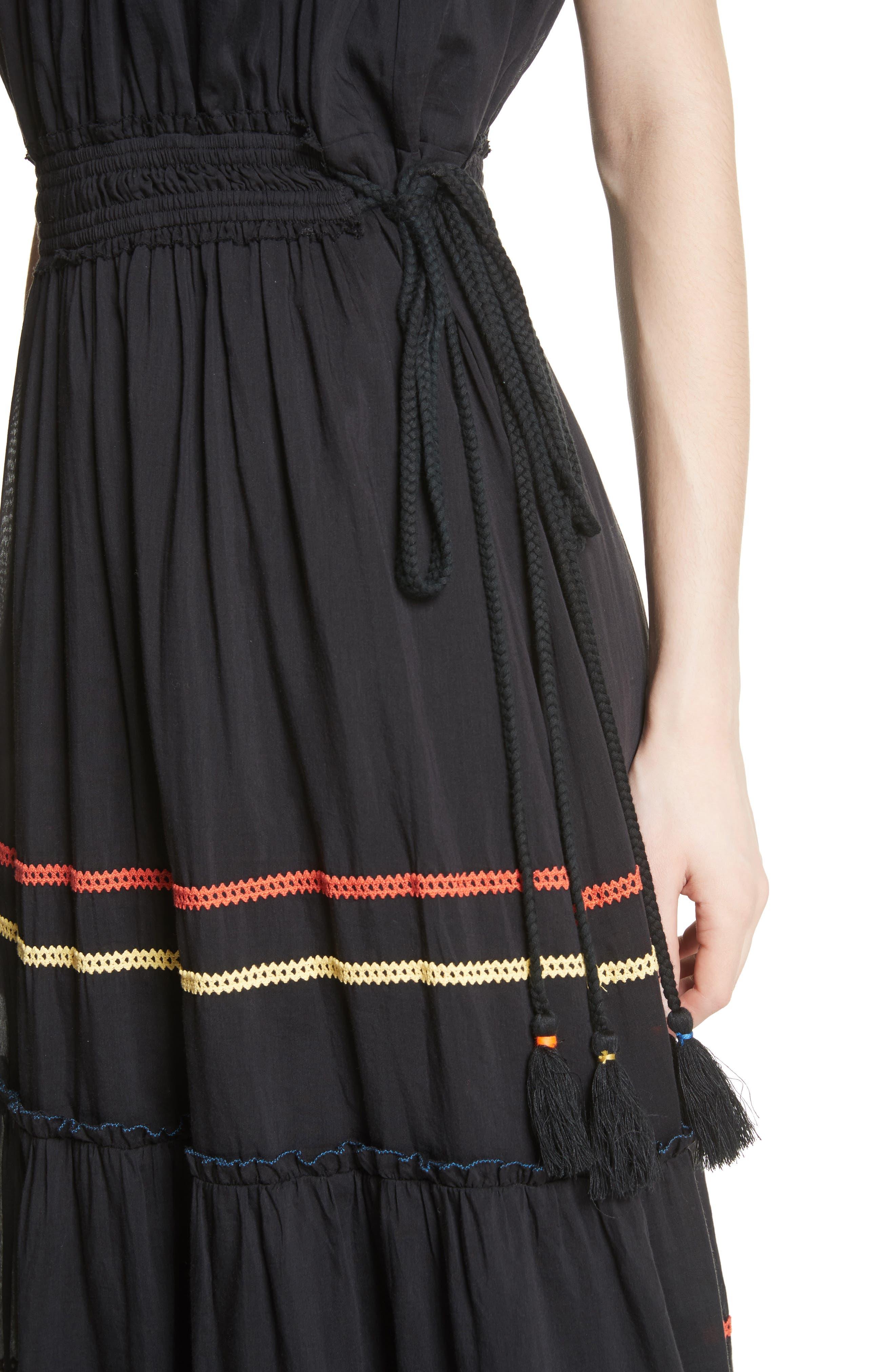 Danit Embroidered Stripe Cotton & Silk Dress,                             Alternate thumbnail 4, color,                             001