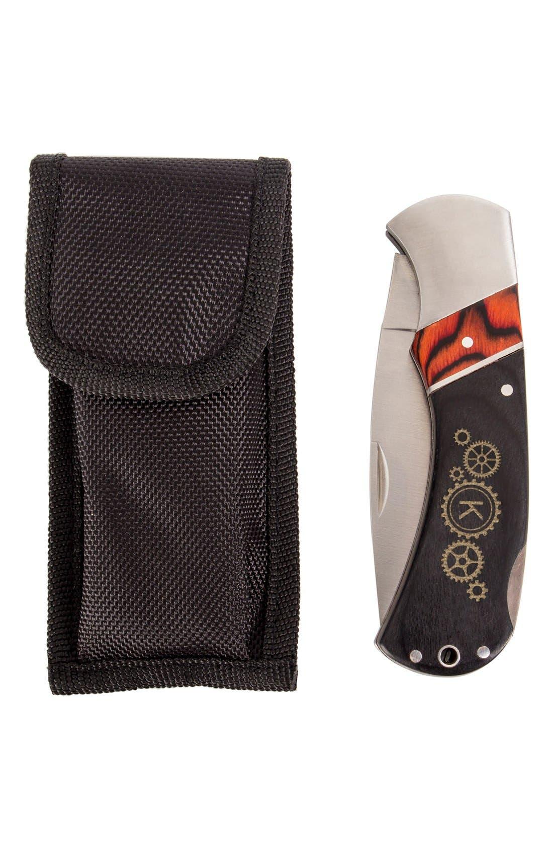 Steampunk Monogram Folding Stainless Steel Pocket Knife,                             Alternate thumbnail 53, color,