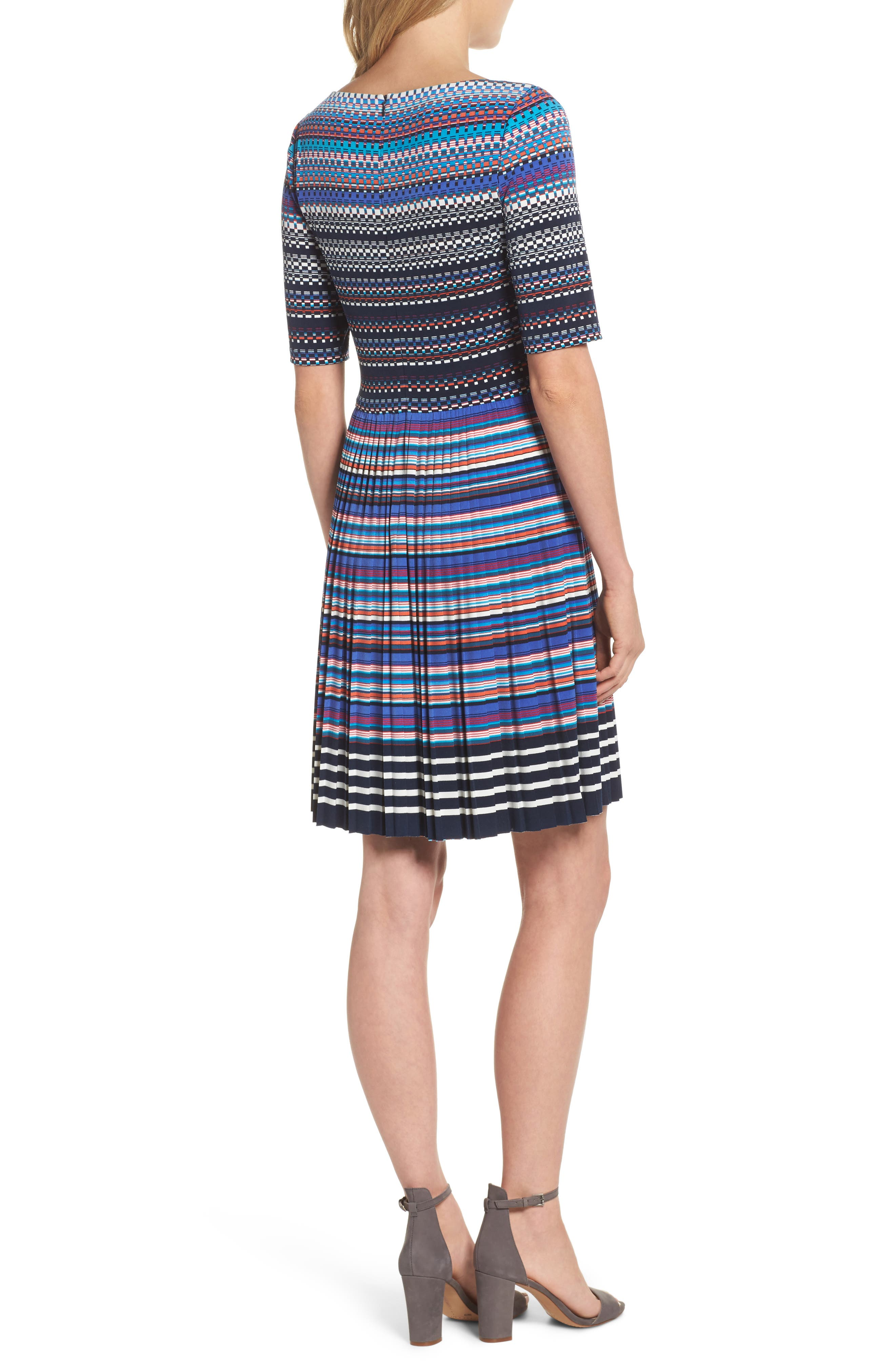 Pleat Fit & Flare Dress,                             Alternate thumbnail 2, color,                             466