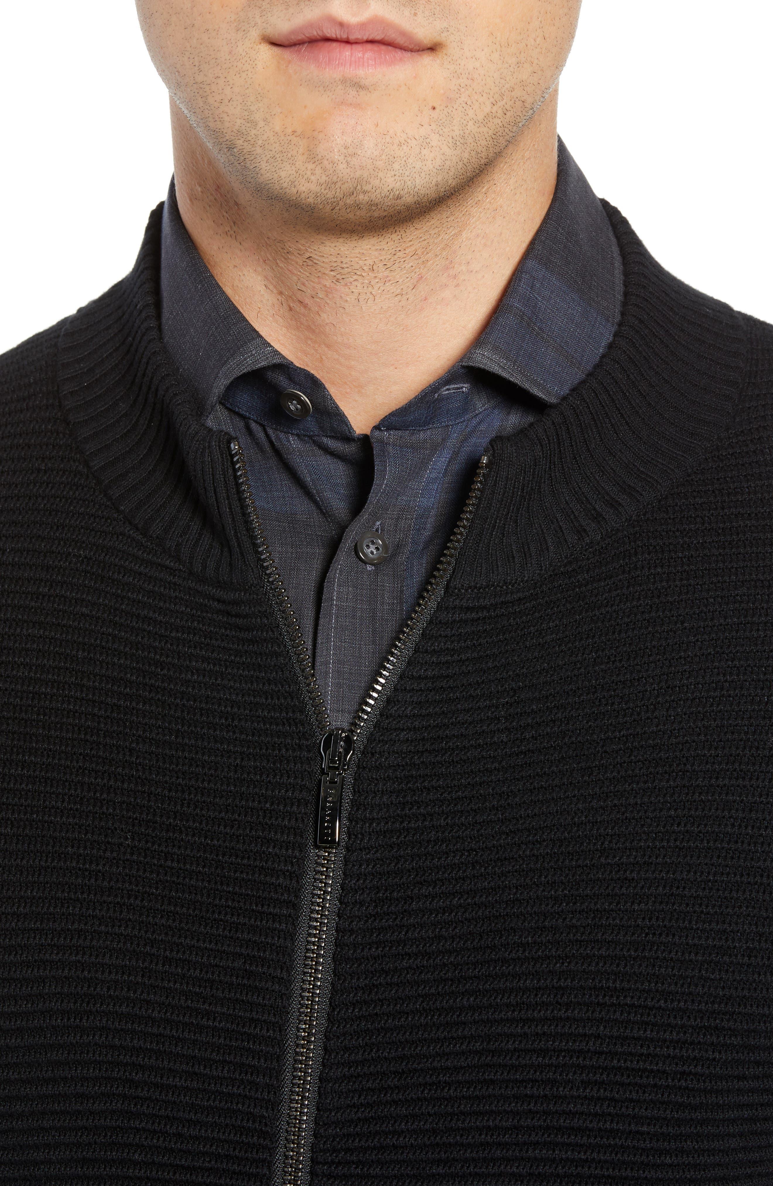 Yorkville Zip Sweater,                             Alternate thumbnail 4, color,                             BLACK