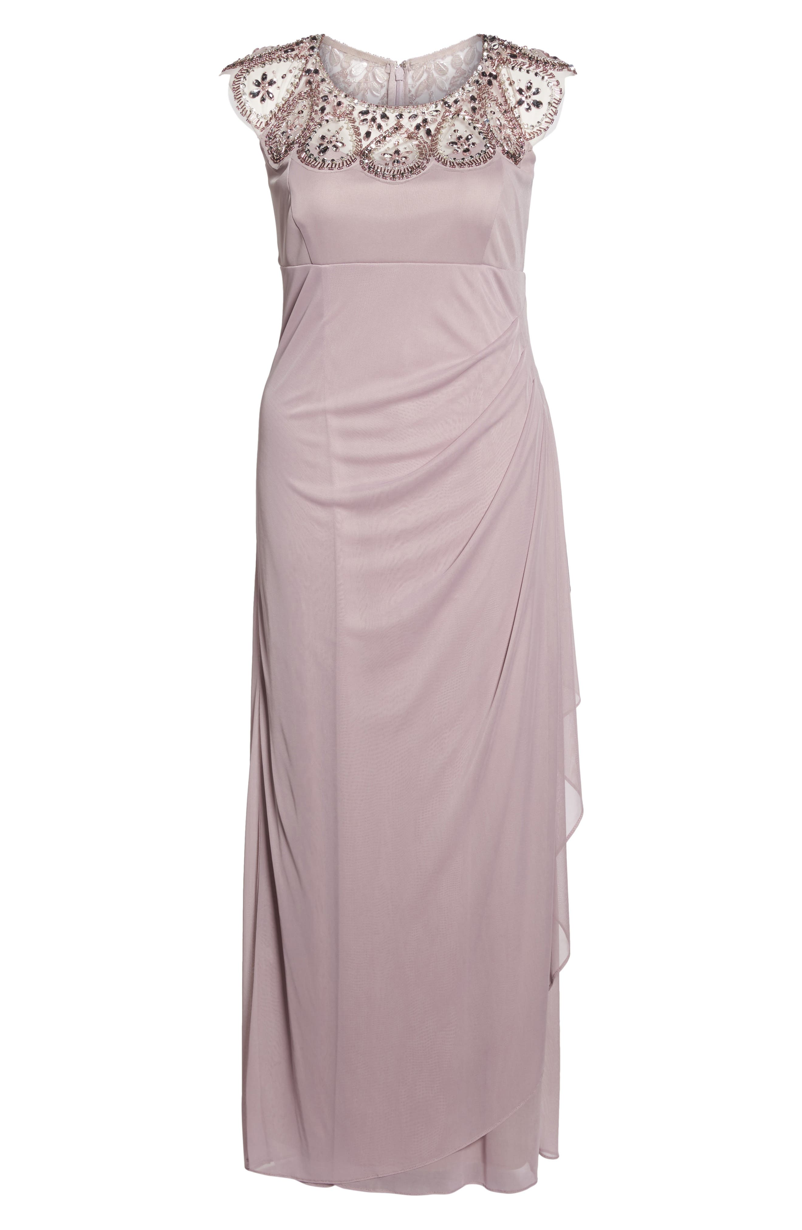 Beaded Neck Empire Gown,                             Alternate thumbnail 6, color,                             500
