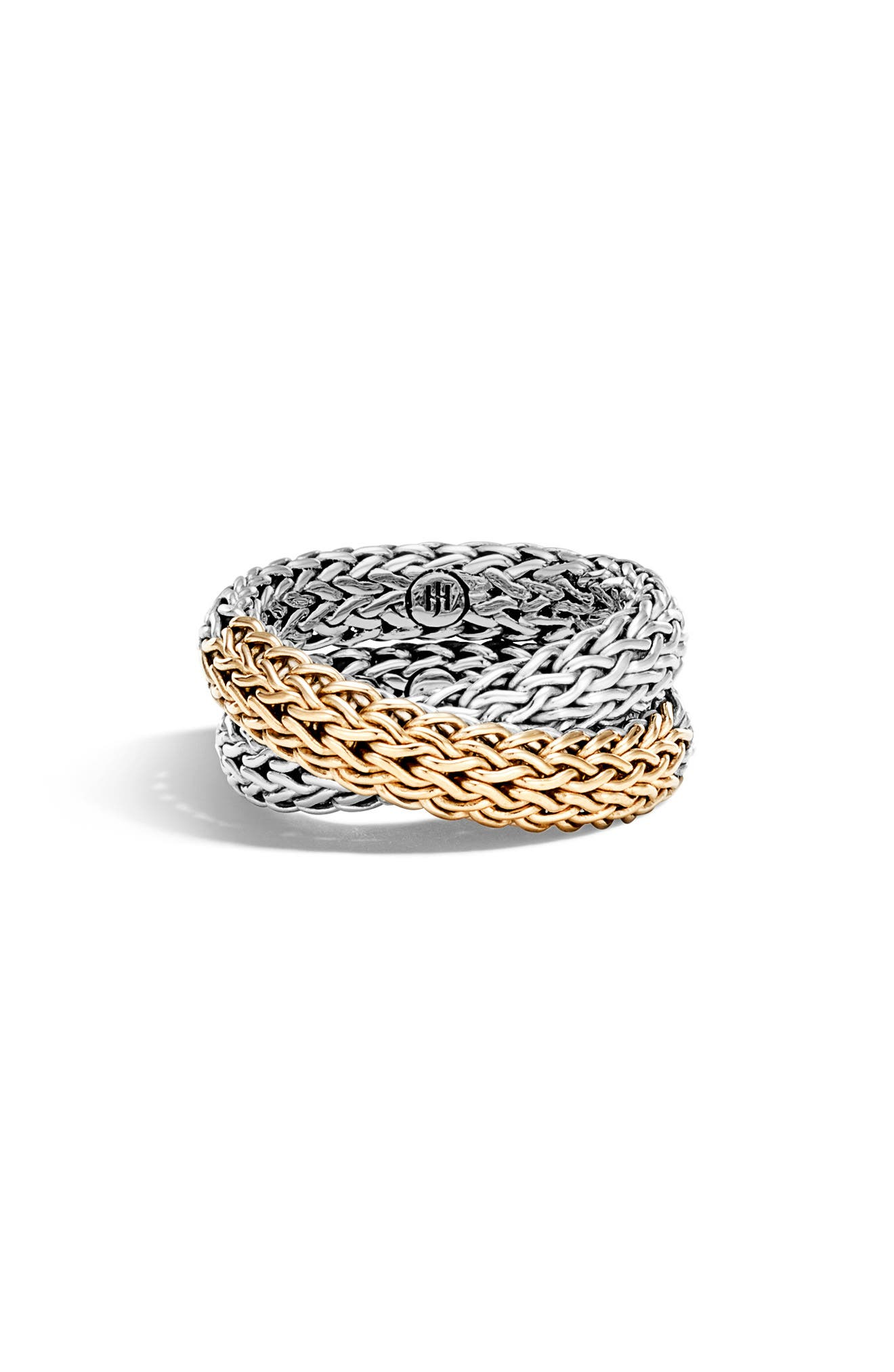 JOHN HARDY,                             'Classic Chain' Overlap Ring,                             Alternate thumbnail 2, color,                             SILVER/ GOLD