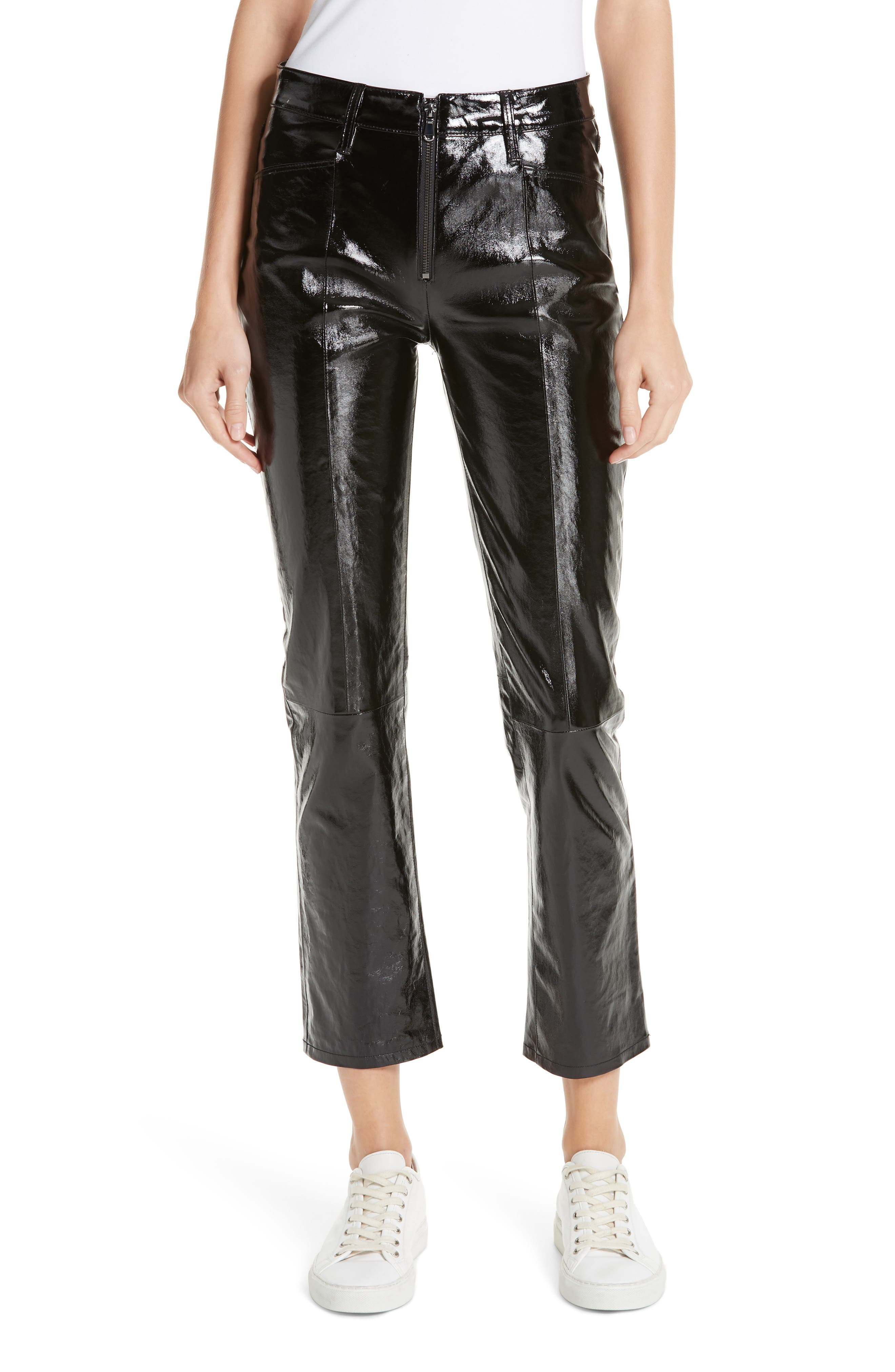 Slick Straight Leg Leather Pants,                             Main thumbnail 1, color,                             NOIR