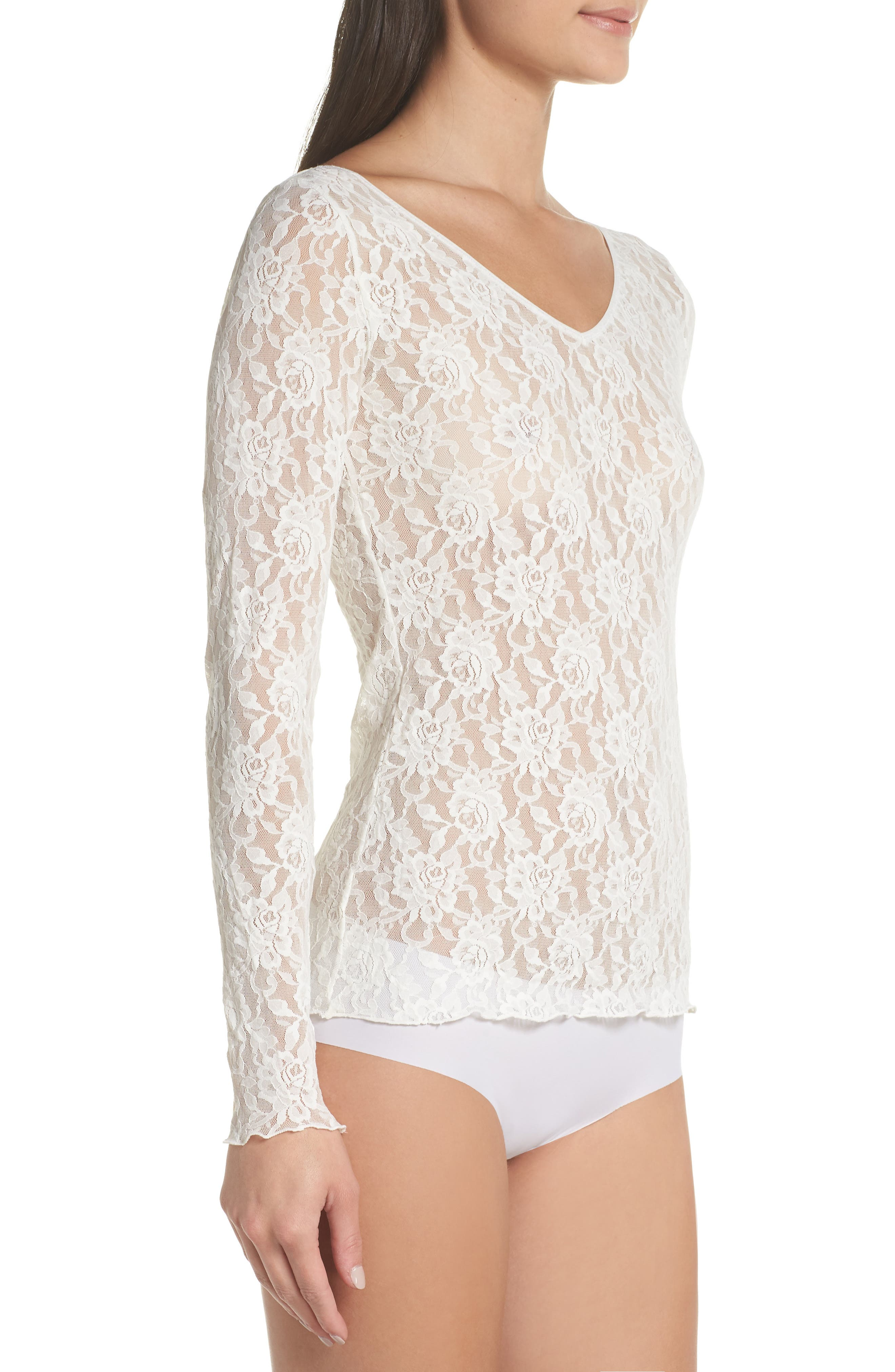 Signature Lace 2-Way Top,                             Alternate thumbnail 4, color,                             MARSHMALLOW