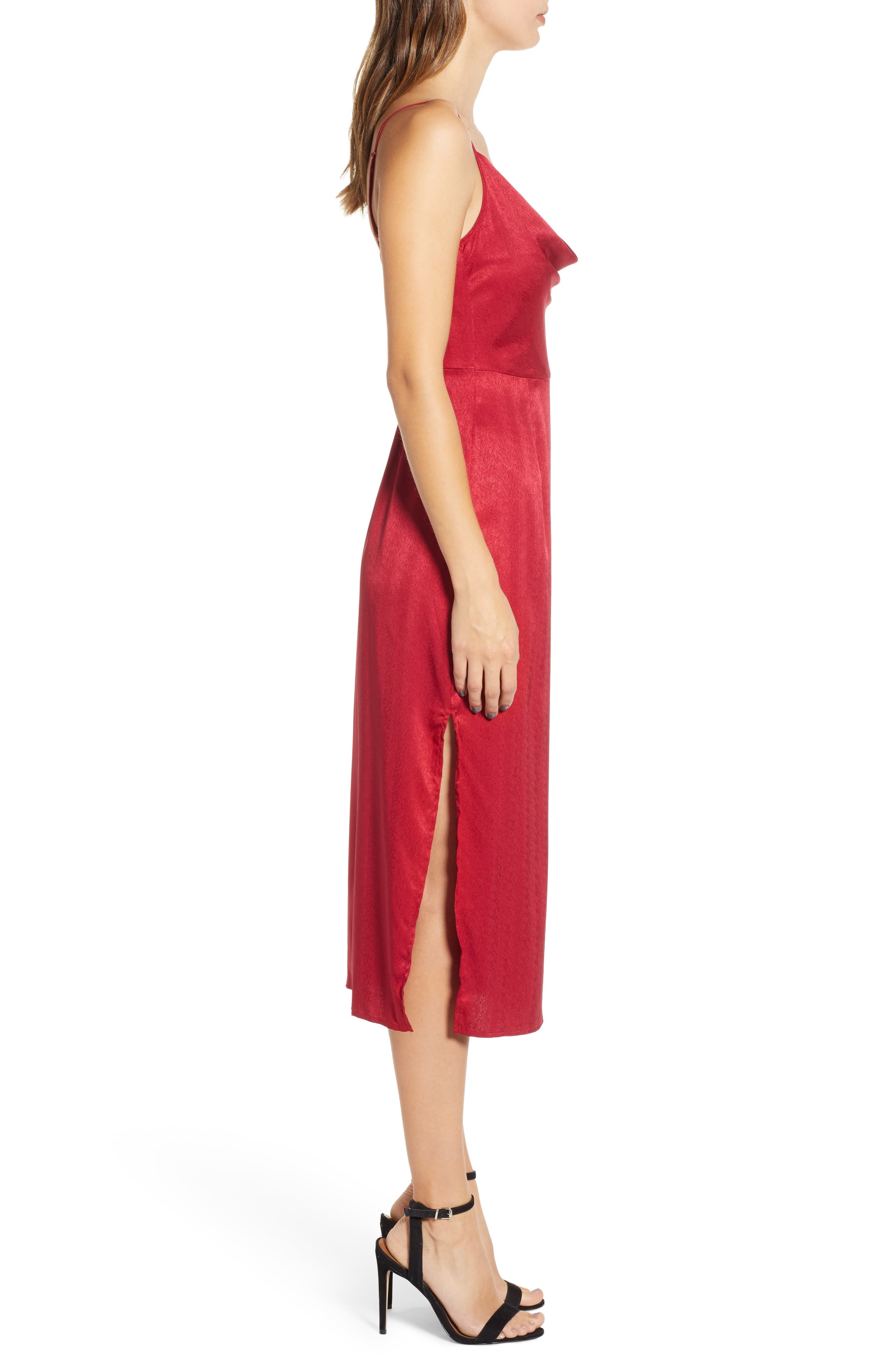 Lotti Cowl Neck Midi Dress,                             Alternate thumbnail 3, color,                             CHERRY