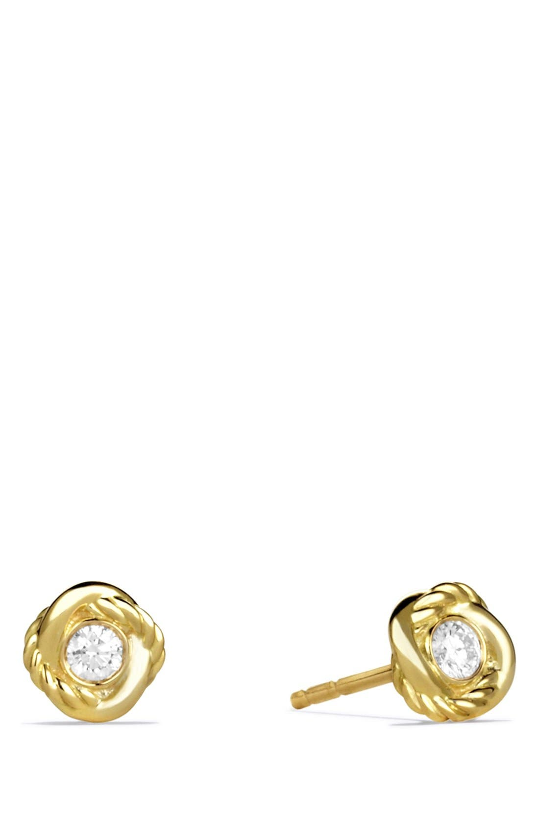 'Infinity' Earrings with Diamonds in Gold,                             Main thumbnail 1, color,                             DIAMOND