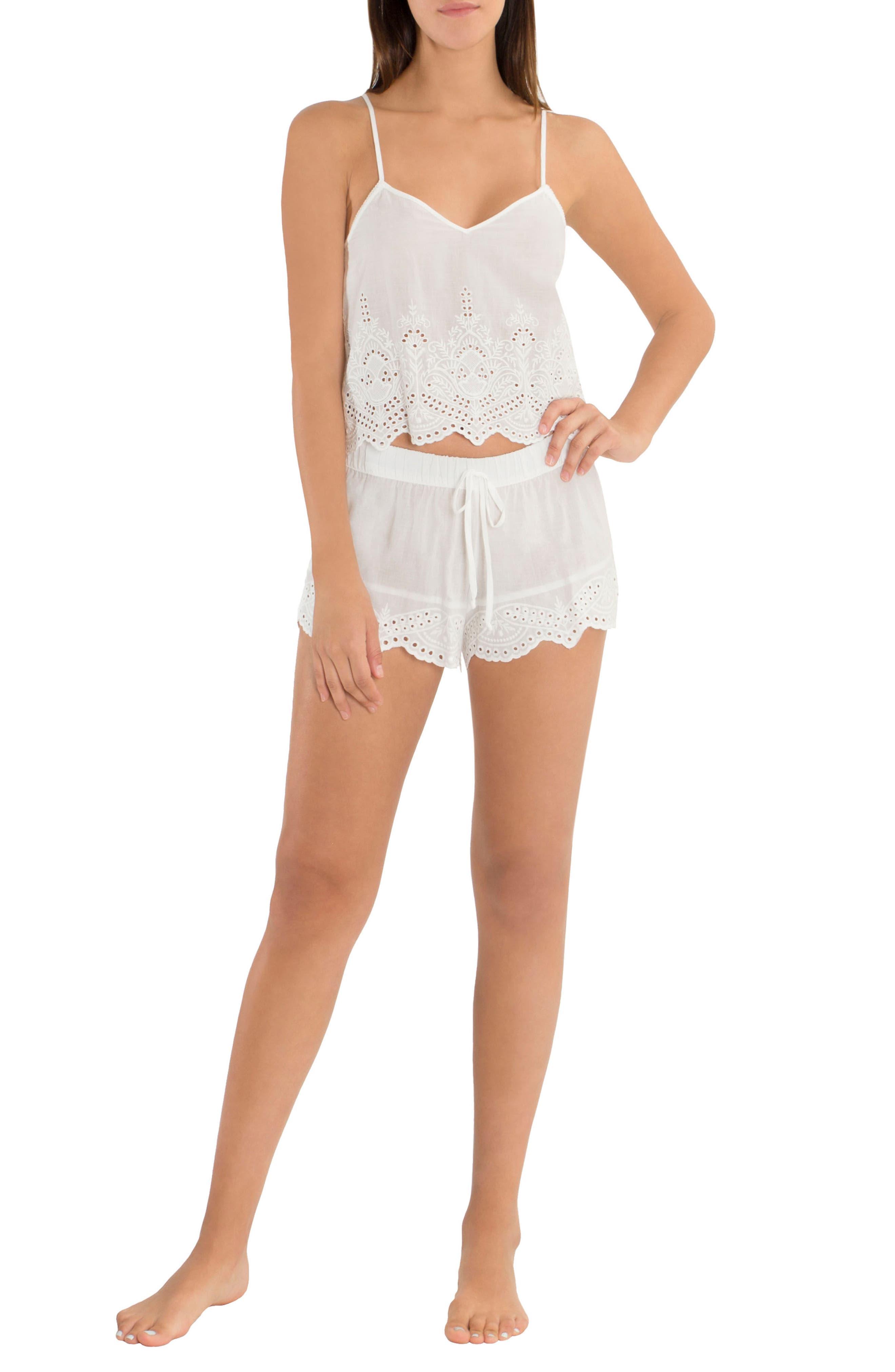 Eyelet Cotton Short Pajamas,                             Alternate thumbnail 5, color,                             900