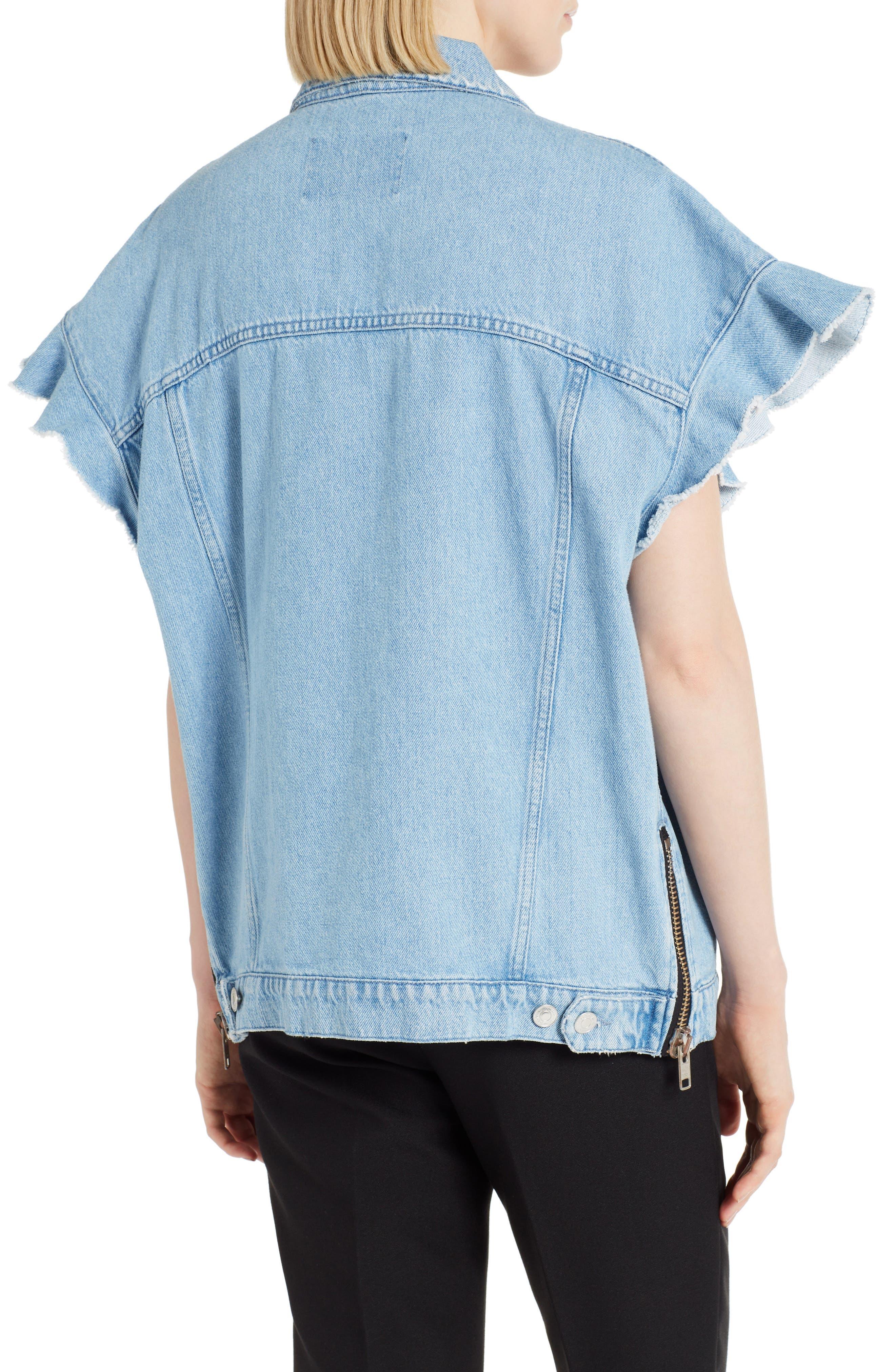 Zip Front Denim Jacket,                             Alternate thumbnail 2, color,                             482