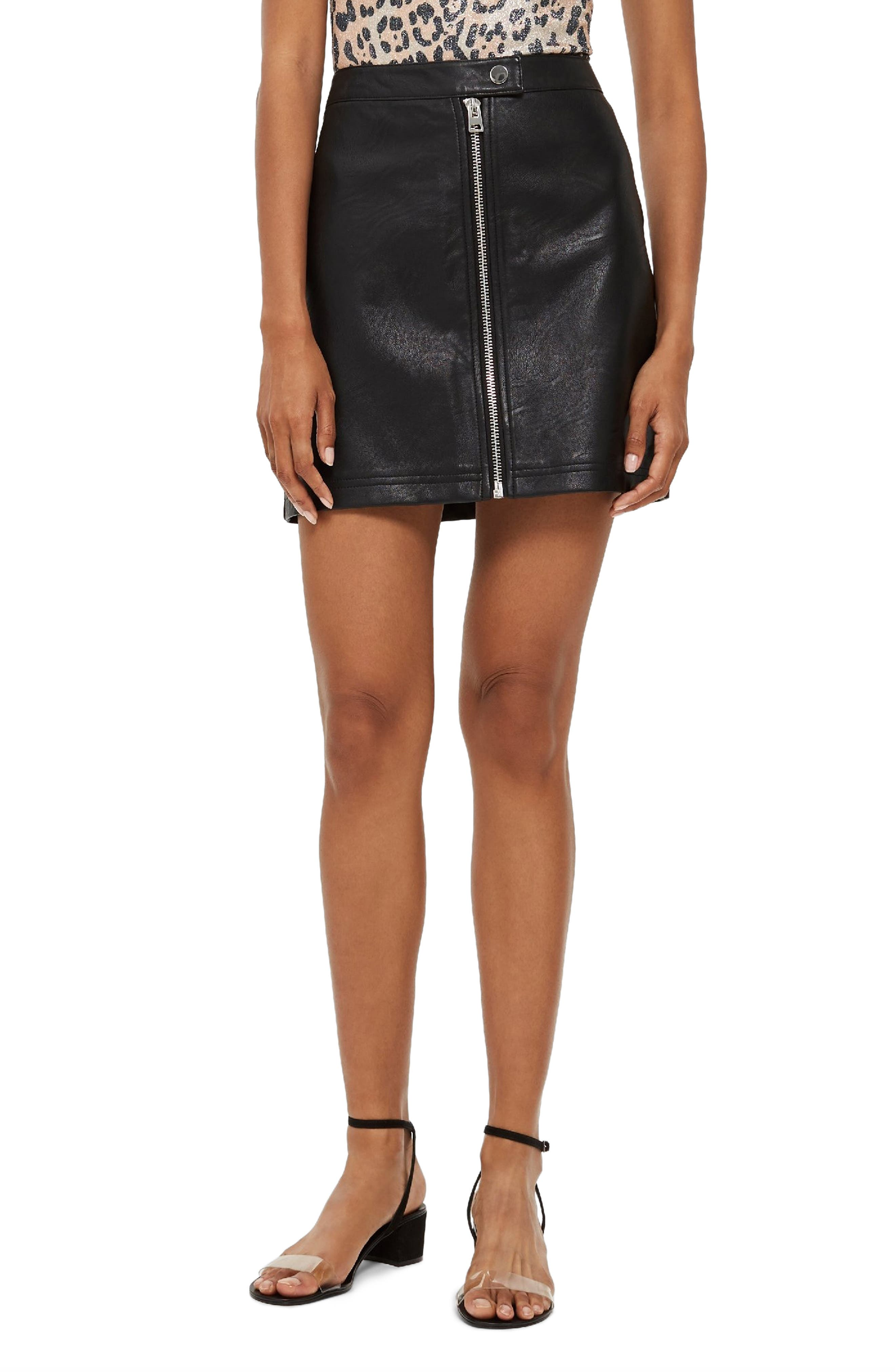 Penelope Faux Leather Miniskirt,                         Main,                         color, BLACK