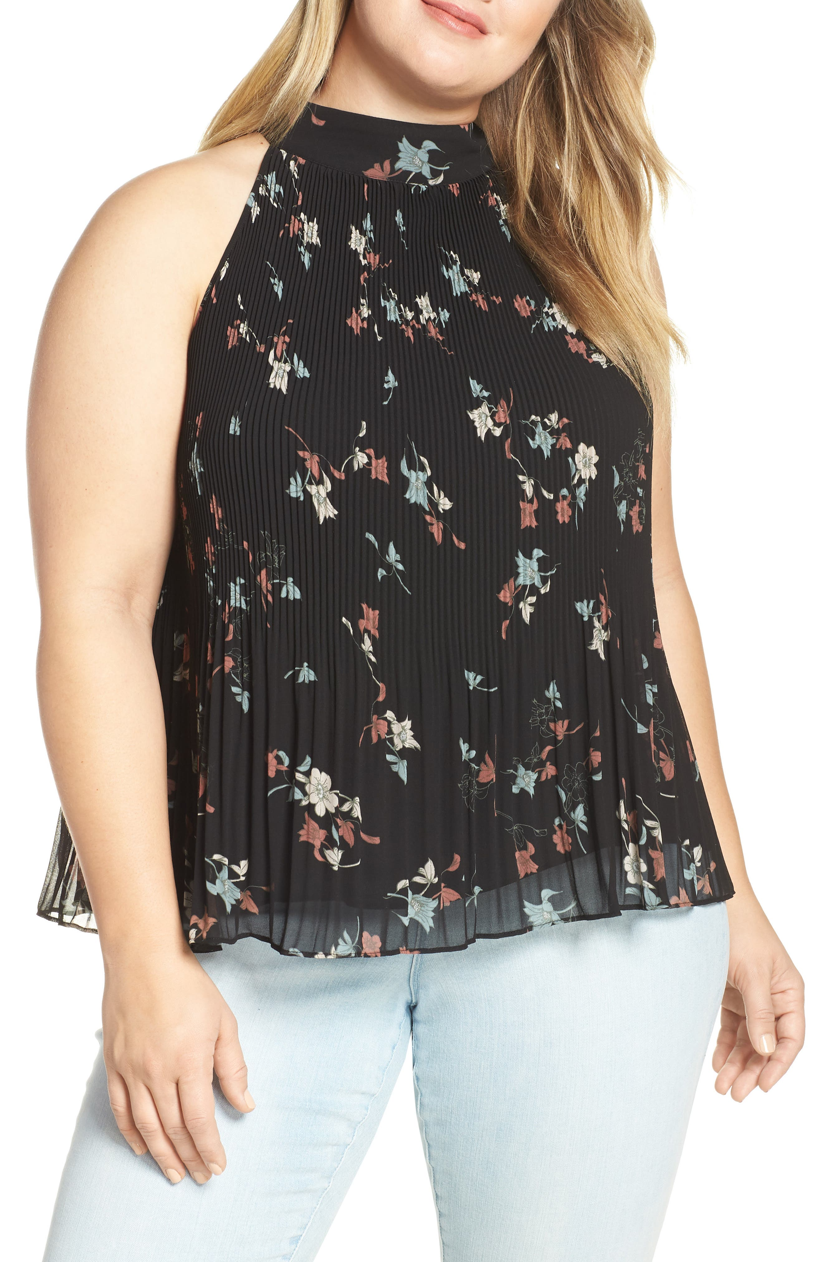 Floral Belle Pleated Tank,                             Main thumbnail 1, color,                             RED BLACK BLUSH