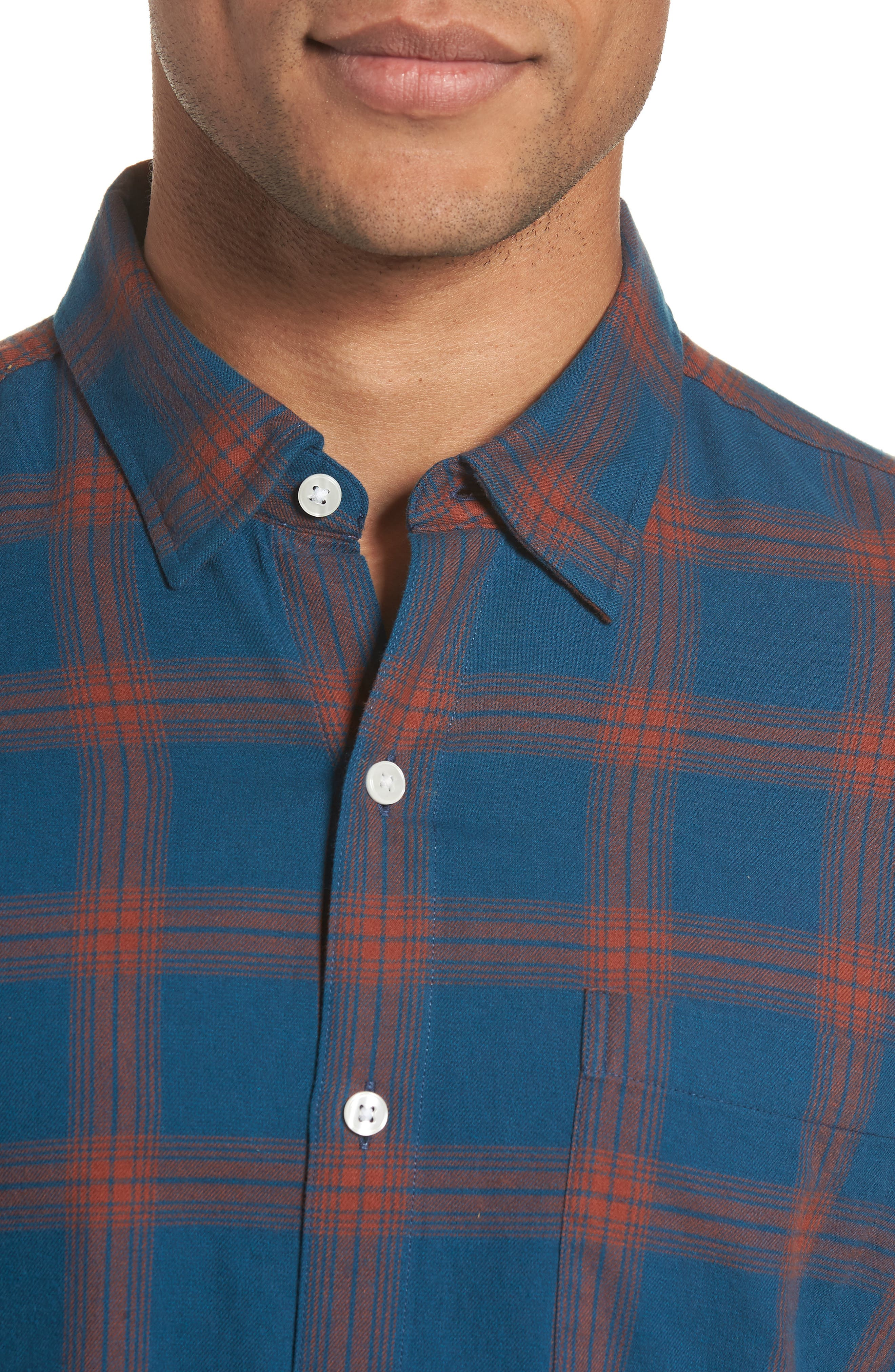 Slim Fit Check Brushed Twill Sport Shirt,                             Alternate thumbnail 2, color,                             CHECK TEAL