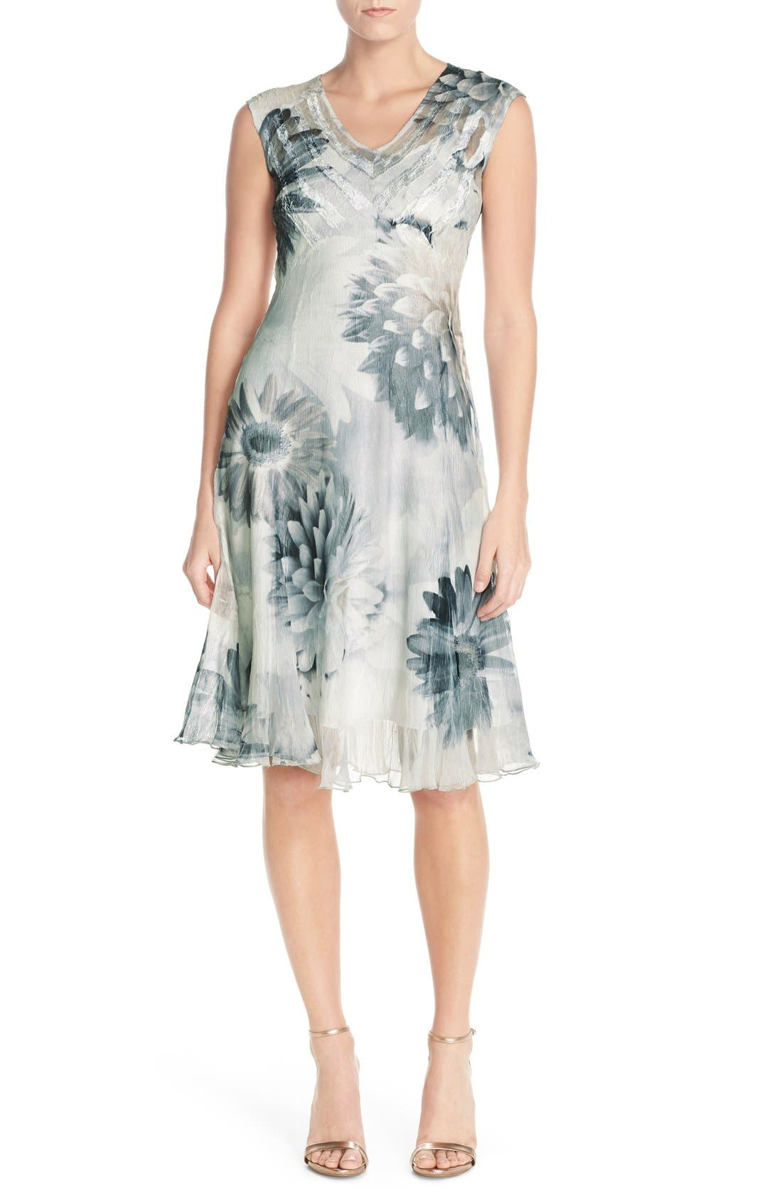 Floral Print Chiffon A-Line Dress,                             Alternate thumbnail 3, color,                             408