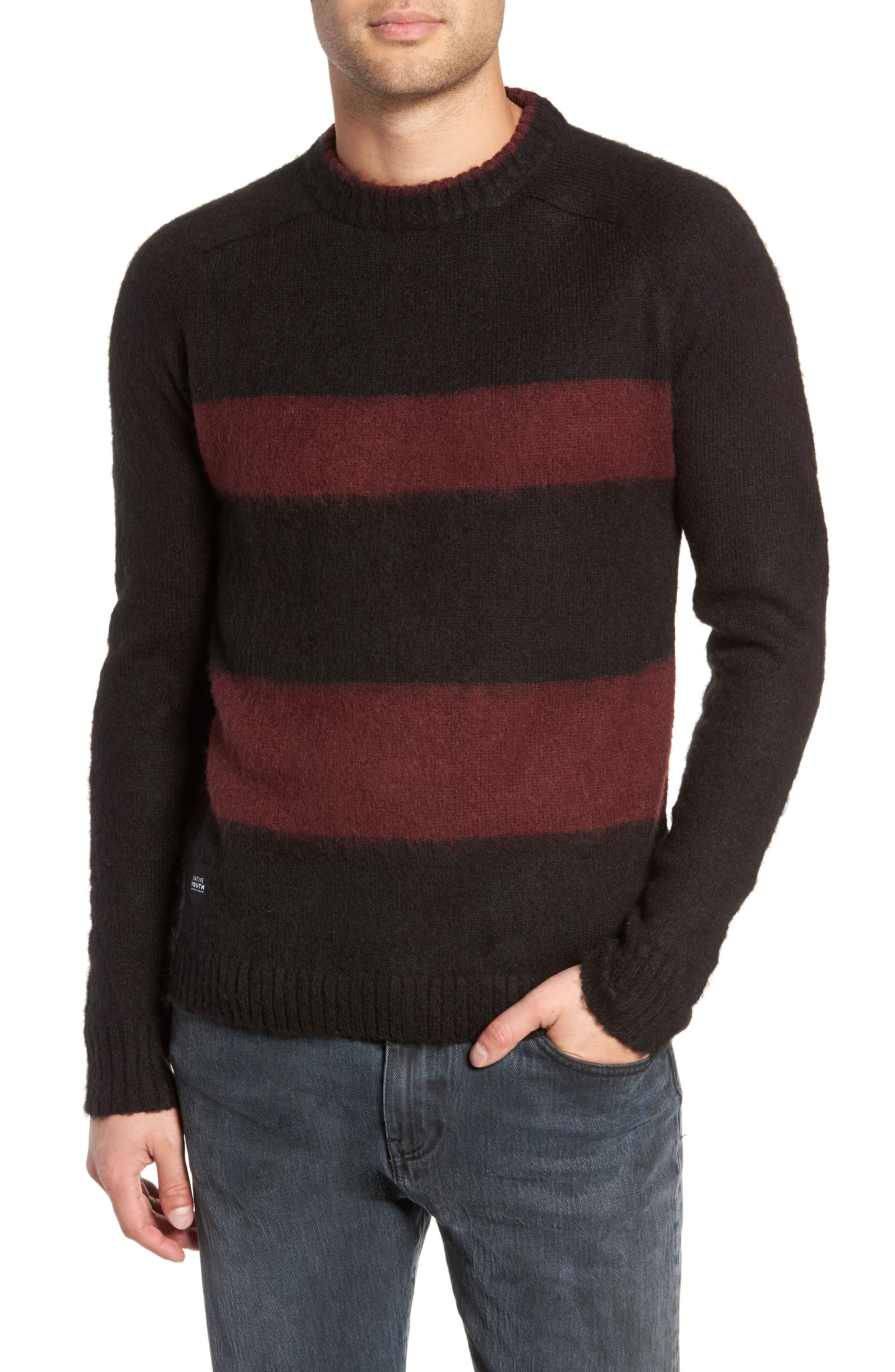 Native Youth Colorblock Sweater, Black