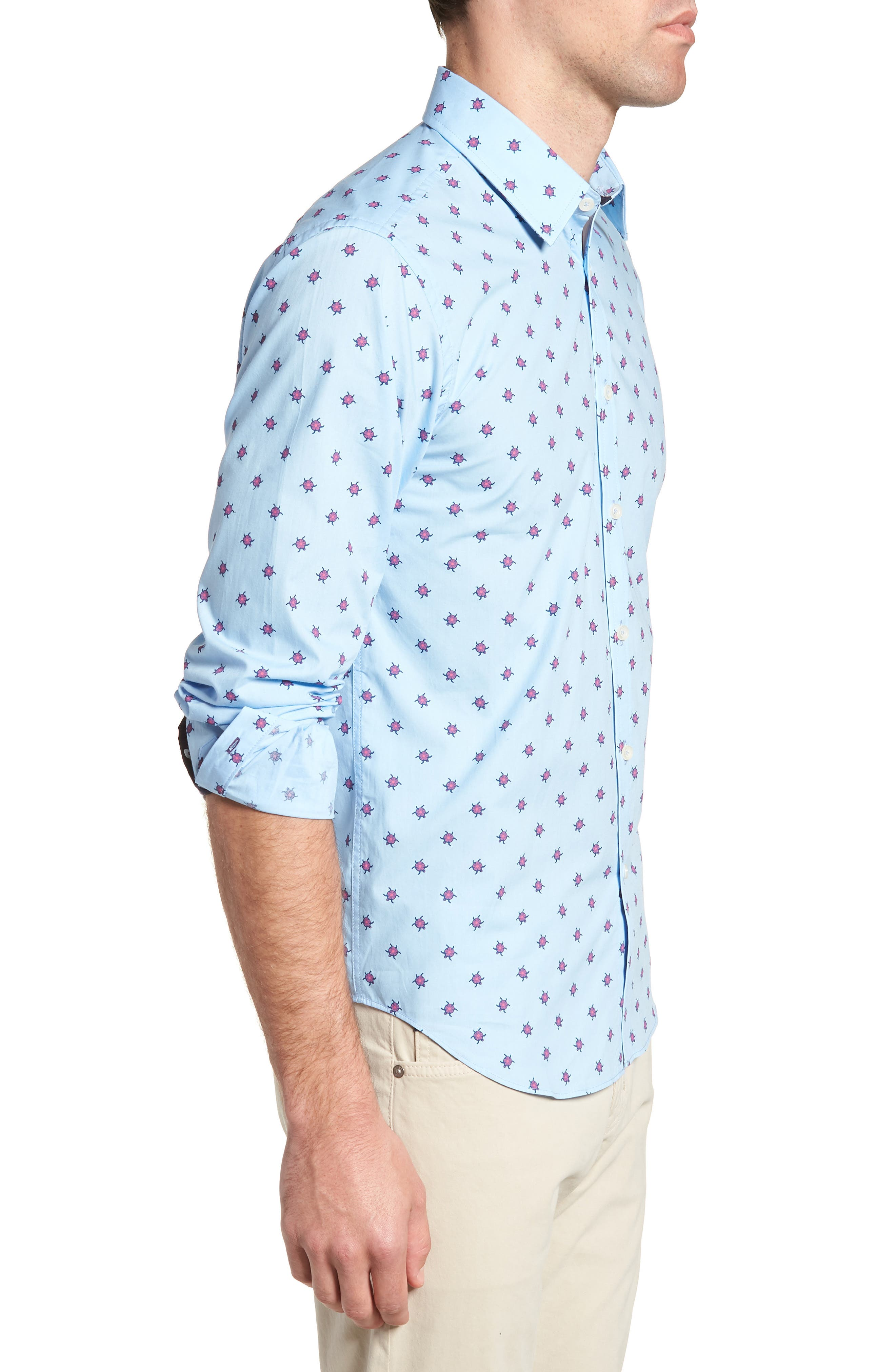 Slim Fit Turtle Print Sport Shirt,                             Alternate thumbnail 3, color,                             451