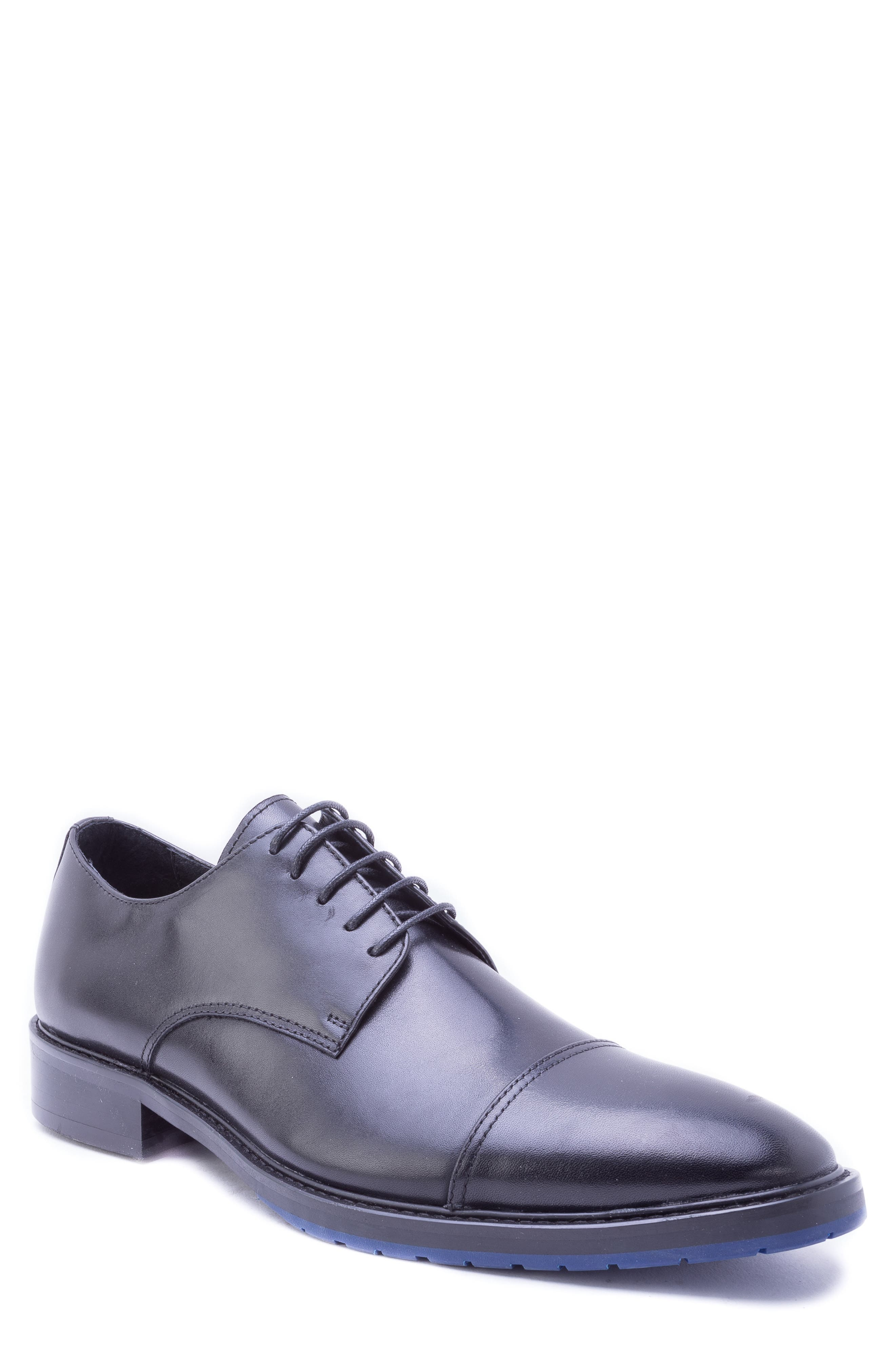 Welti Cap Toe Derby,                             Main thumbnail 1, color,                             BLACK LEATHER