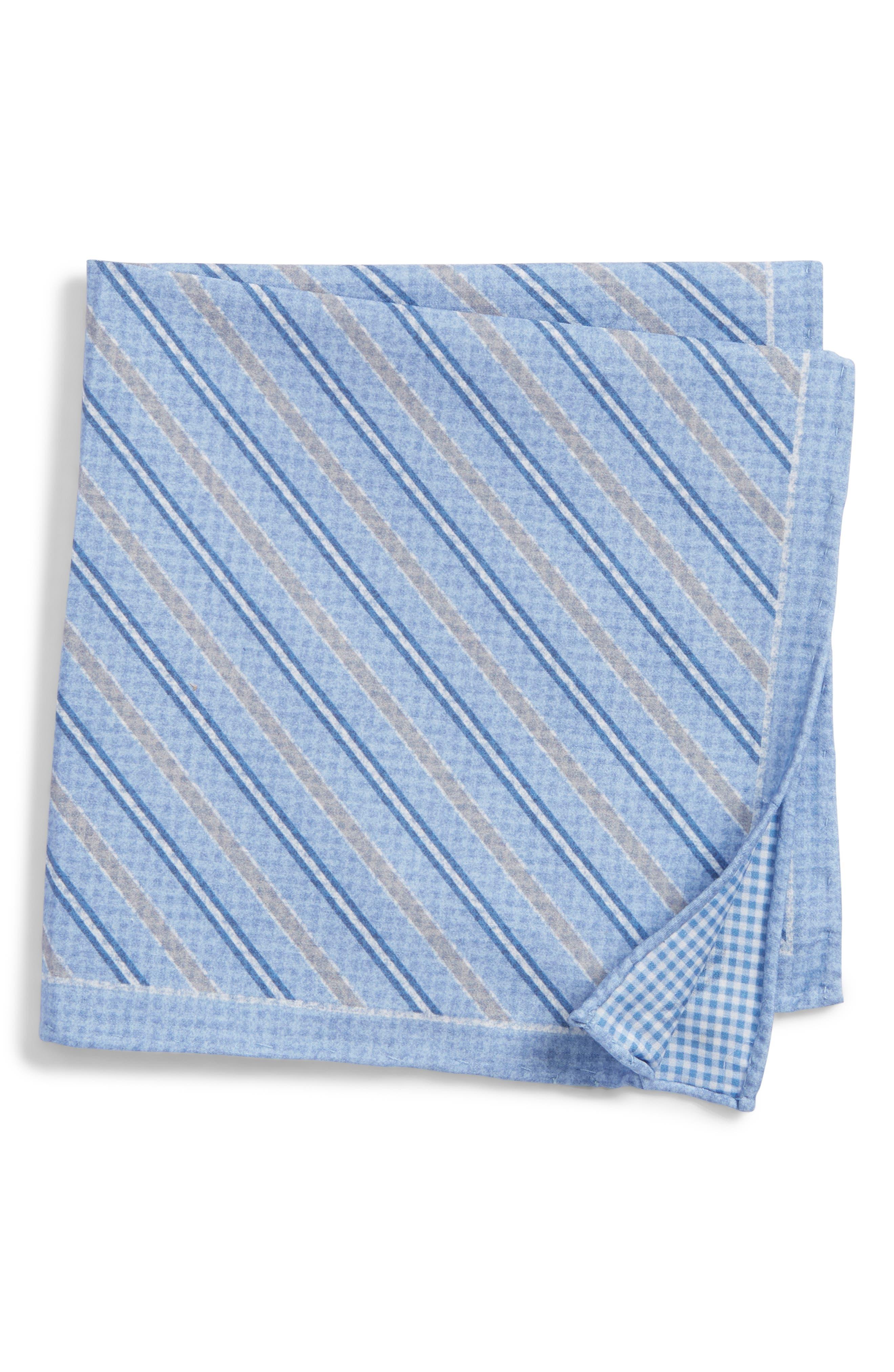Stripe Cotton & Silk Pocket Square,                             Main thumbnail 1, color,