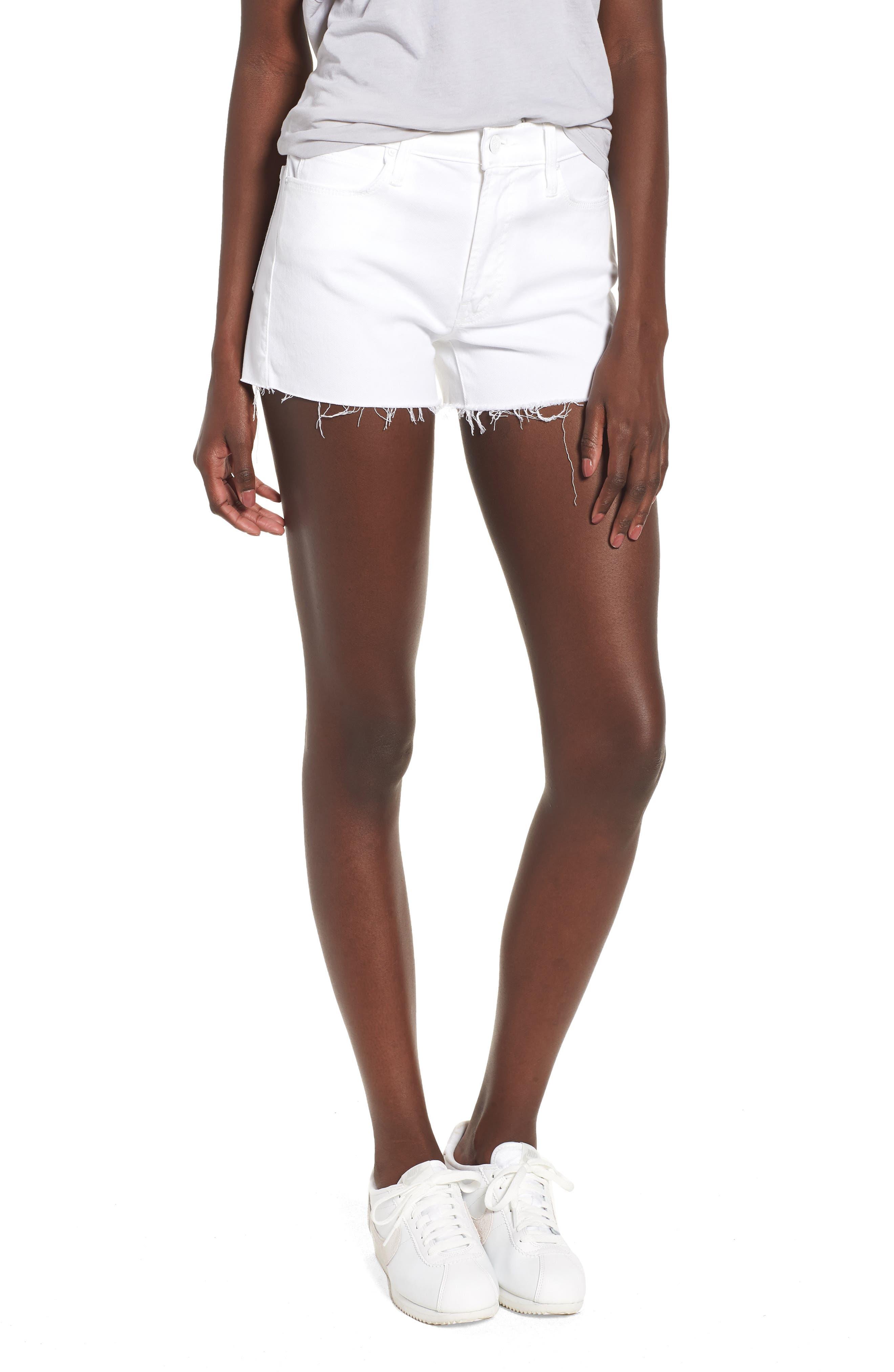 The Charmer Fray Denim Shorts,                         Main,                         color, 100