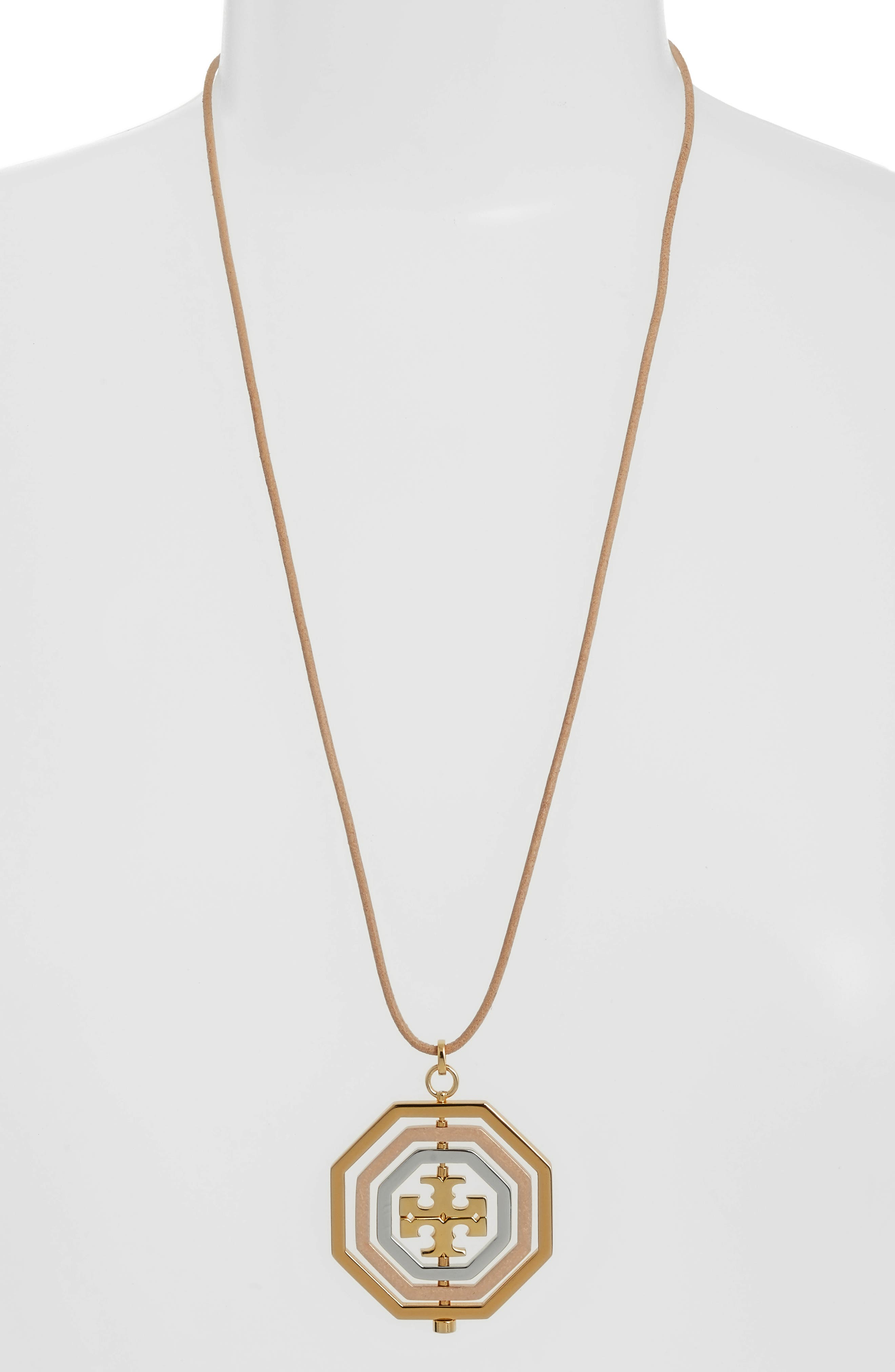 TORY BURCH,                             Logo Spinner Pendant Necklace,                             Main thumbnail 1, color,                             710