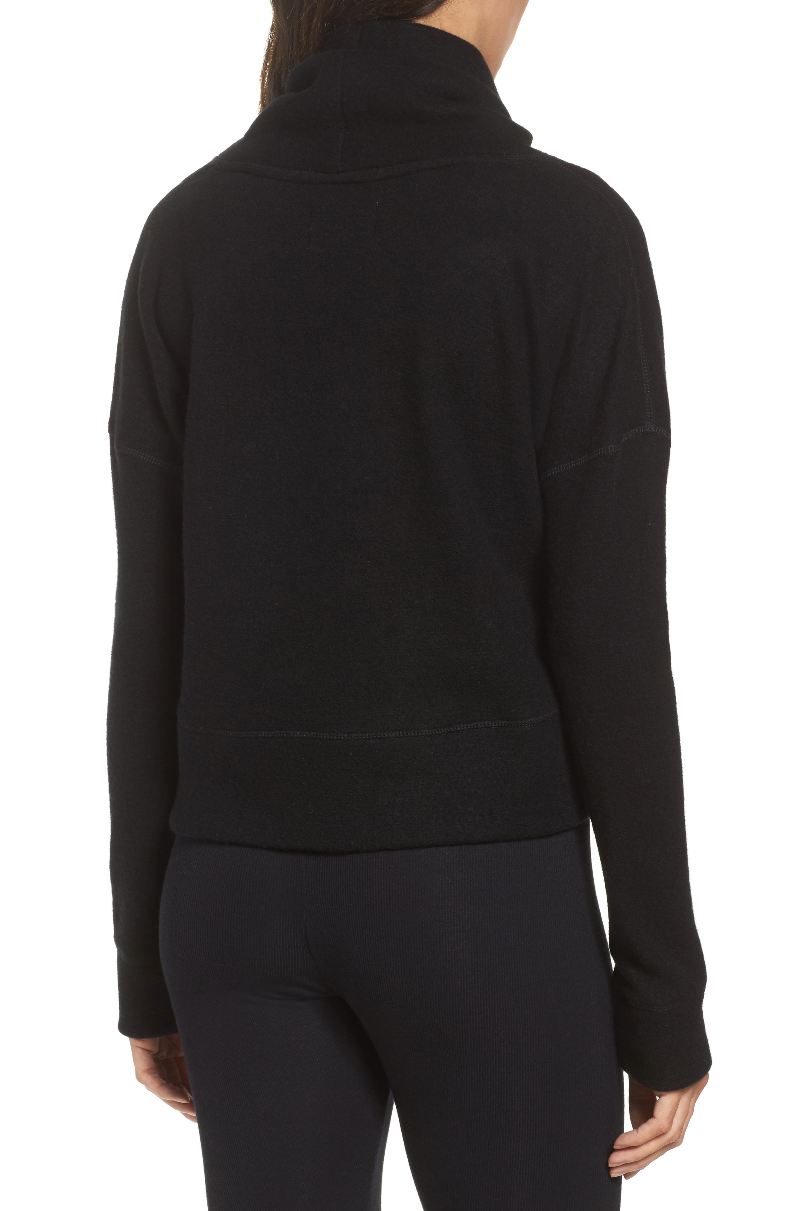 Funnel Neck Crop Merino Wool Sweatshirt,                             Alternate thumbnail 2, color,                             001