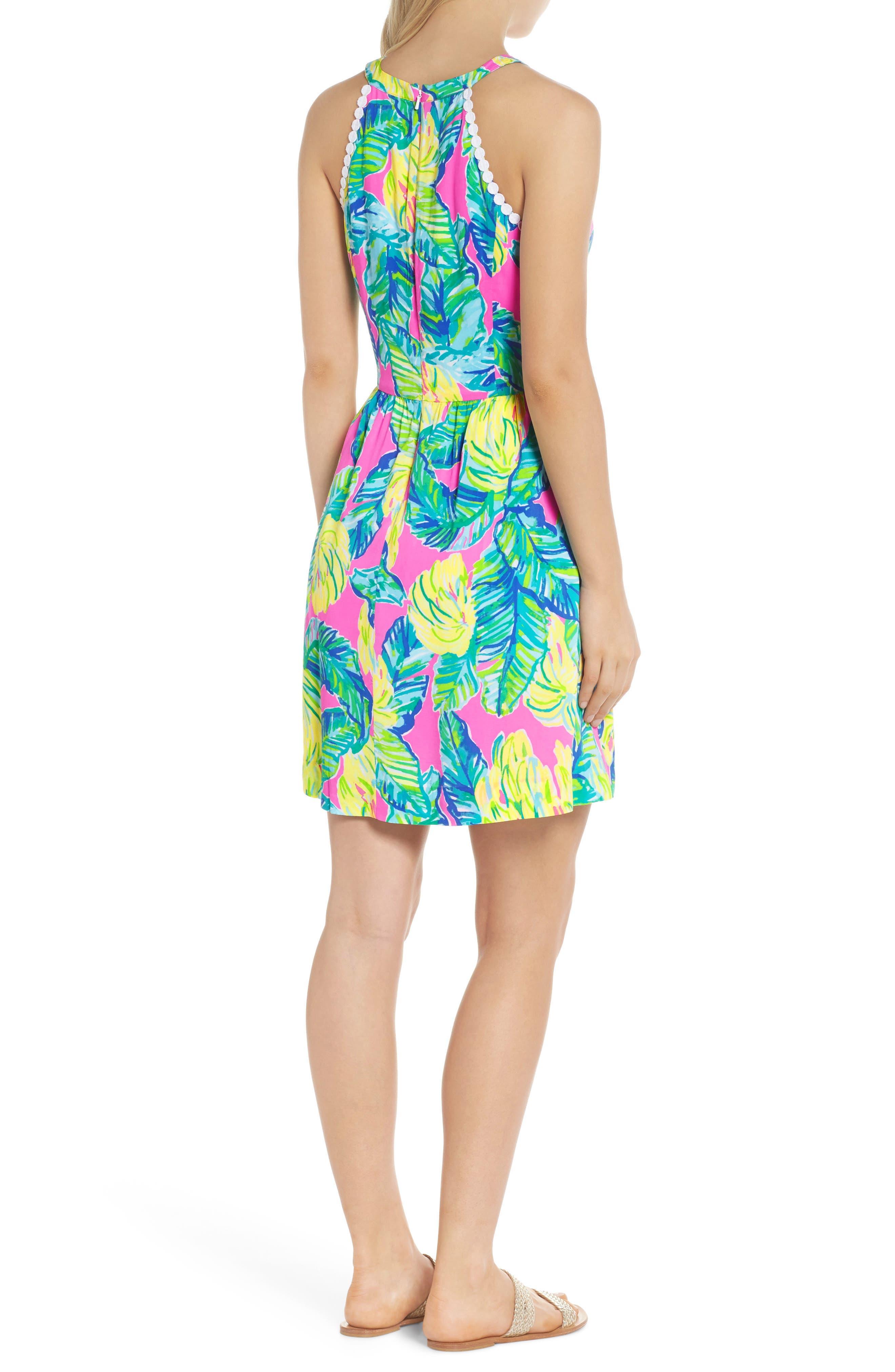 Kinley Halter Dress,                             Alternate thumbnail 2, color,                             PINK SUNSET LOCAL FLAVOR