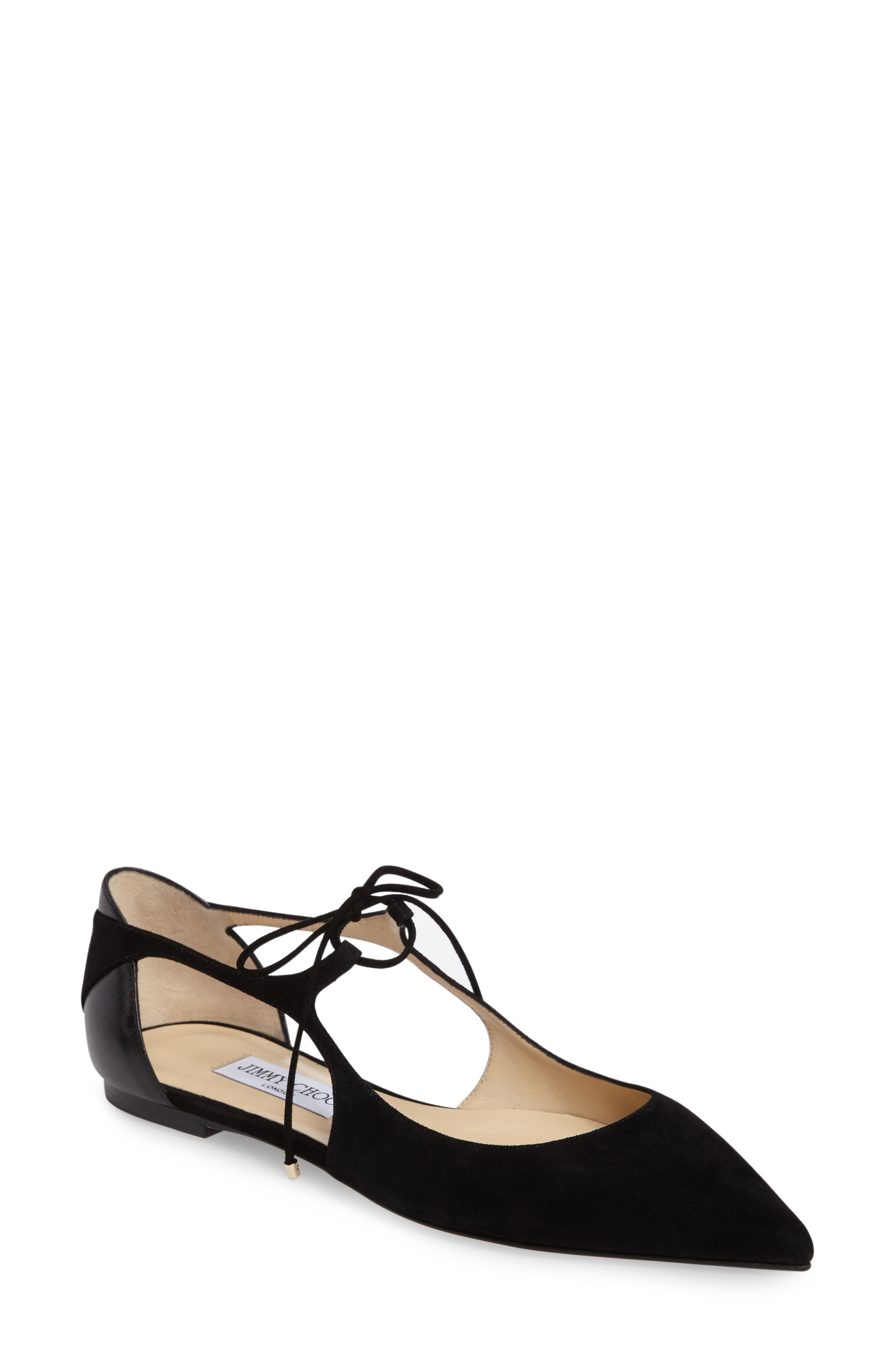 Vanessa Lace-Up Flat,                         Main,                         color, 001