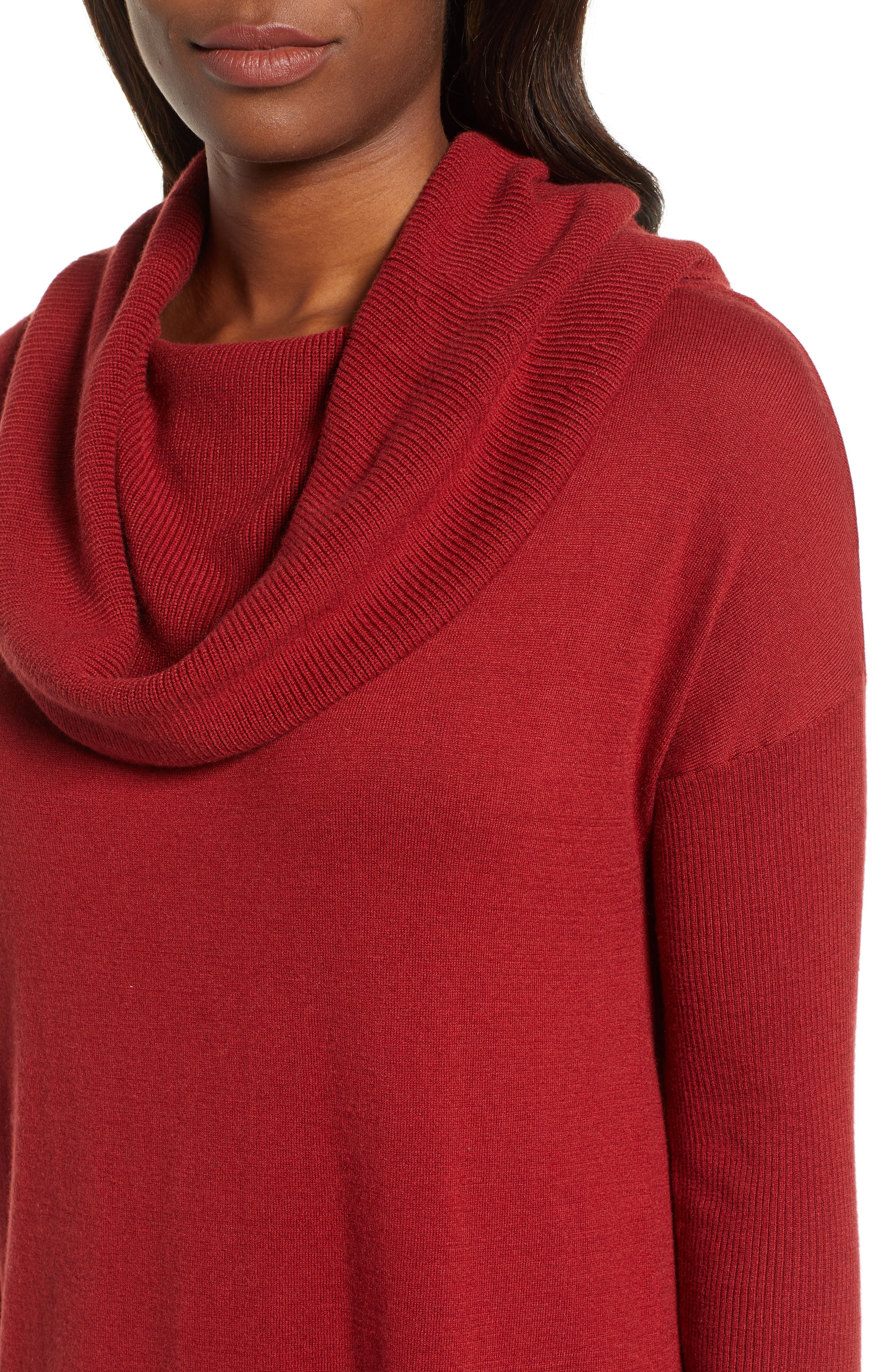 CASLON<SUP>®</SUP>,                             Side Slit Convertible Cowl Neck Tunic,                             Alternate thumbnail 4, color,                             RED SUN