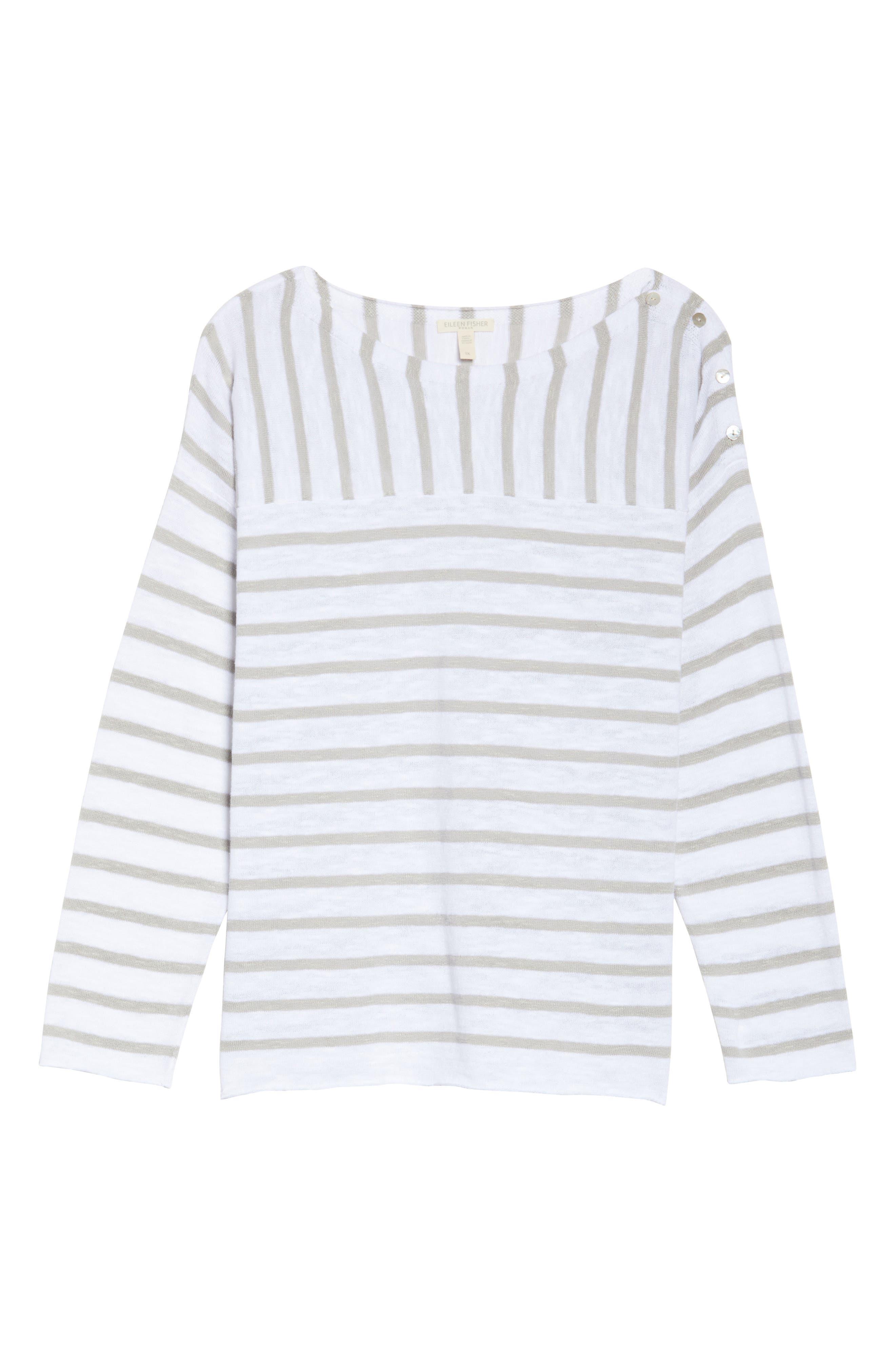 Stripe Organic Linen & Cotton Top,                             Alternate thumbnail 6, color,                             092