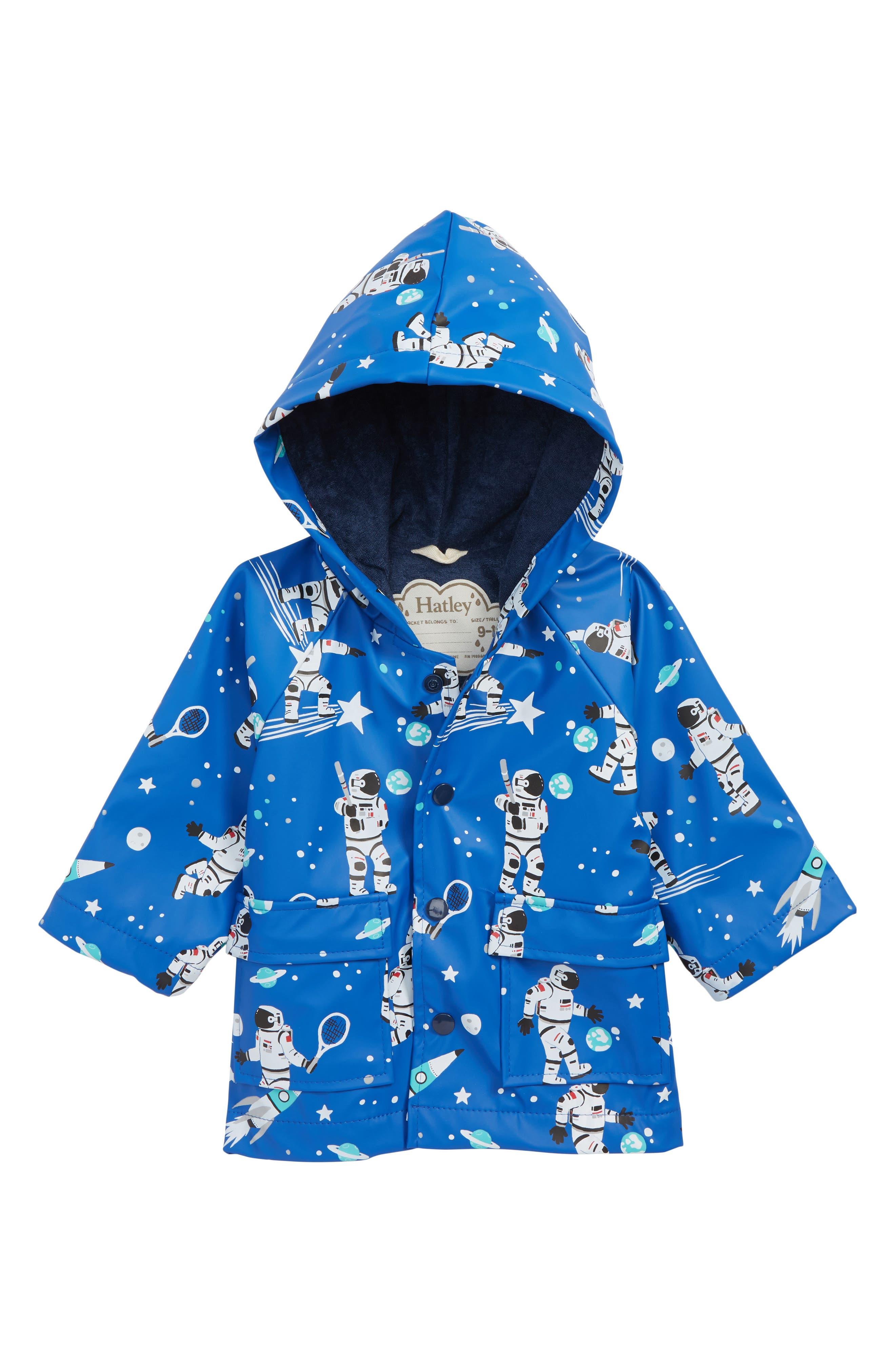 Infant Boys Hatley Astronauts Waterproof Hooded Raincoat