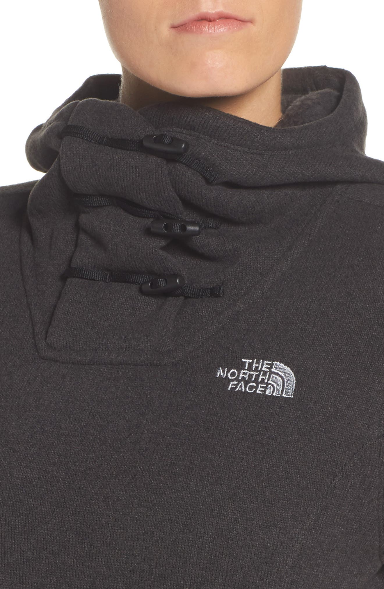 Crescent Hooded Pullover,                             Alternate thumbnail 4, color,                             TNF BLACK HEATHER