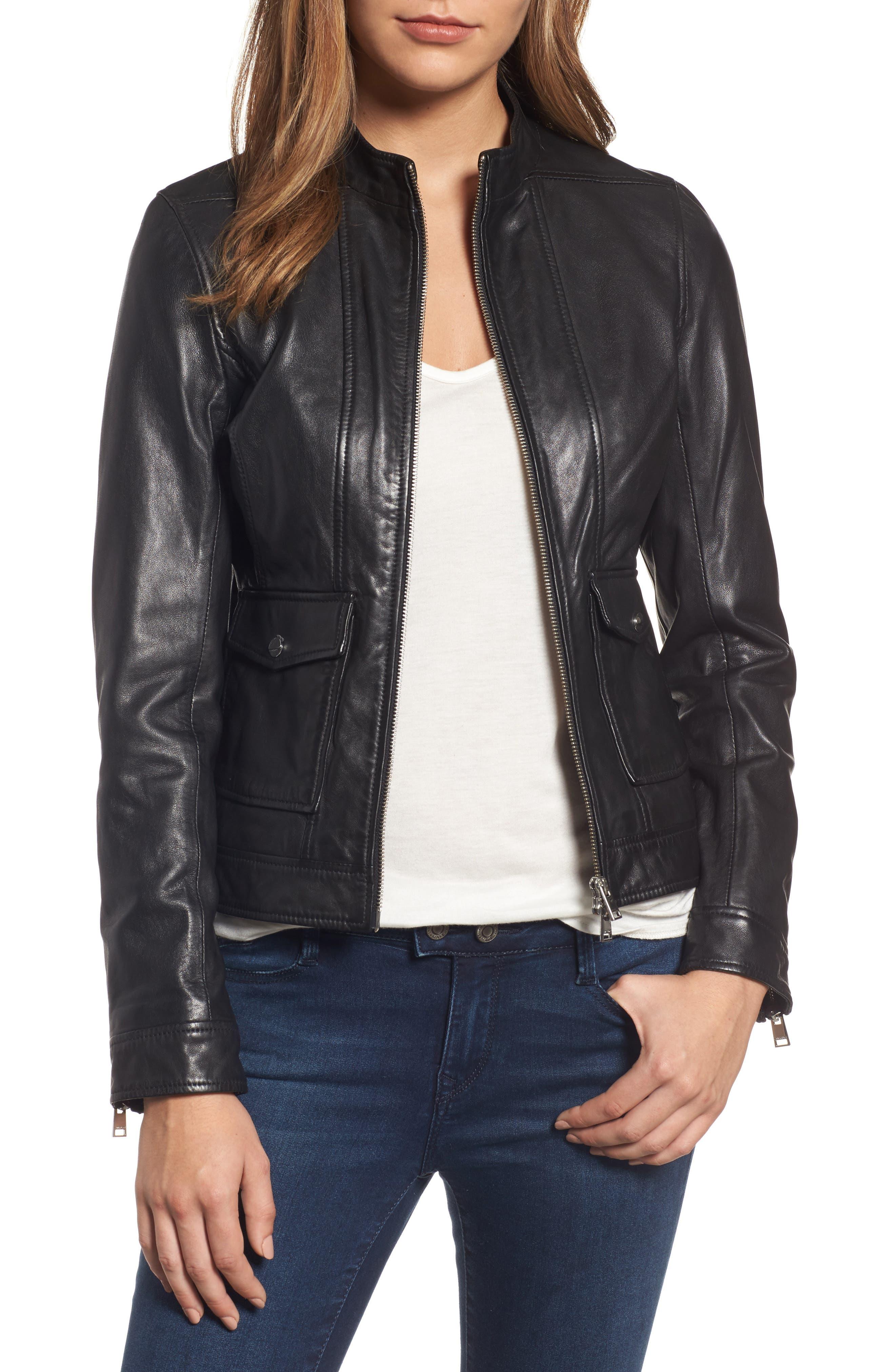 Patch Pocket Leather Biker Jacket,                         Main,                         color, BLACK