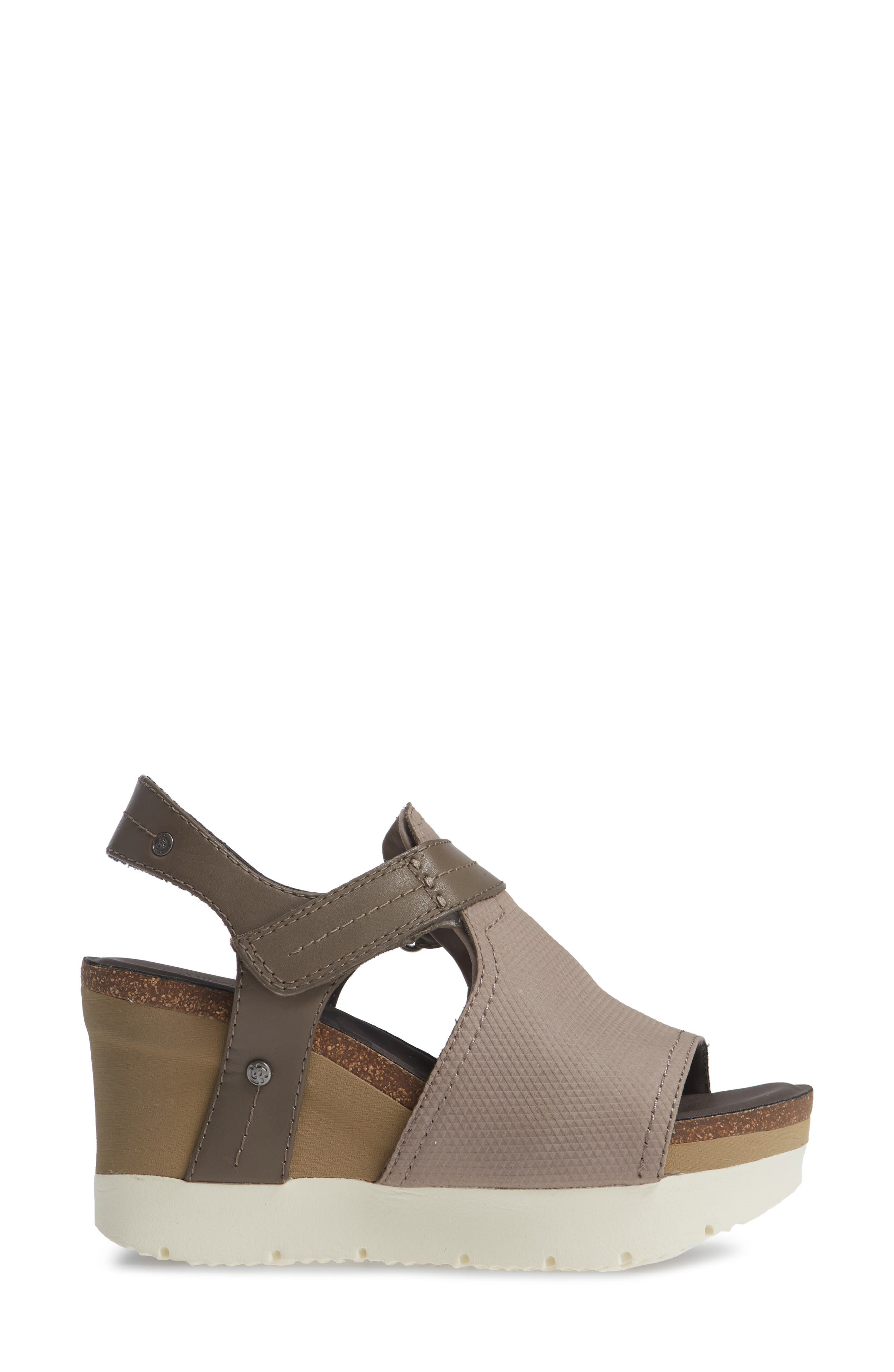 Waypoint Wedge Sandal,                             Alternate thumbnail 3, color,                             CACAO LEATHER