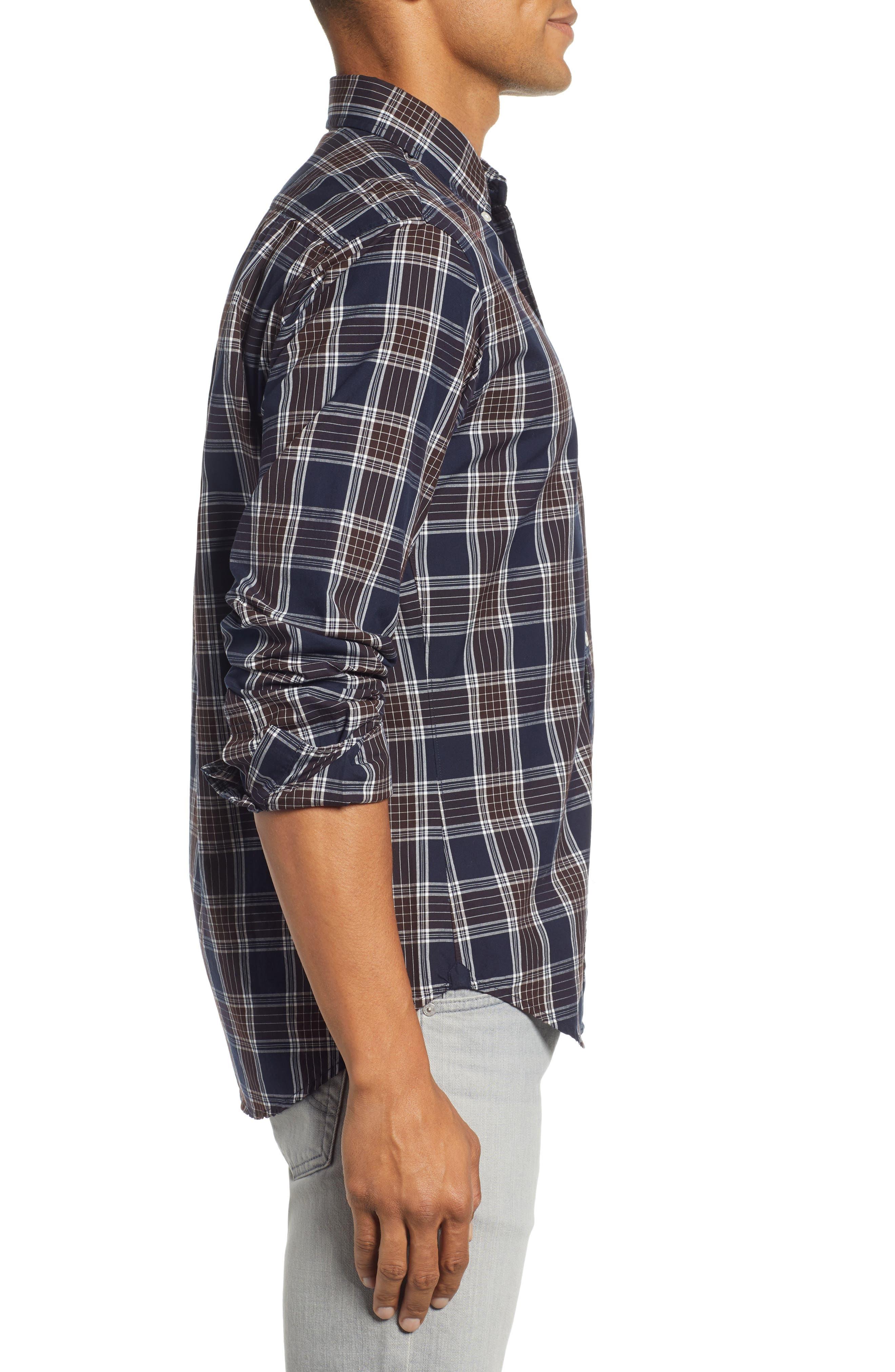 Washed Slim Fit Plaid Sport Shirt,                             Alternate thumbnail 4, color,                             HAWN LAKE PLAID - CEDAR SHAKES