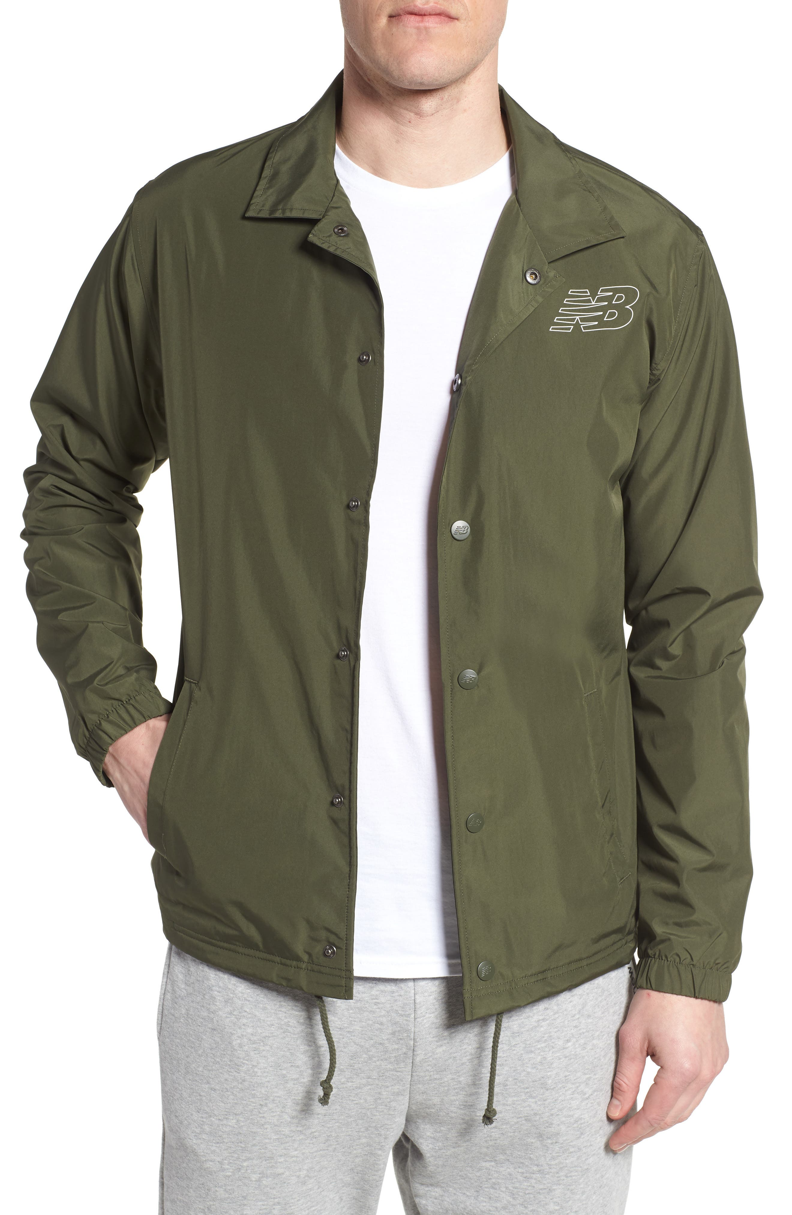 Classic Coach's Jacket,                         Main,                         color, DARK COVERT GREEN