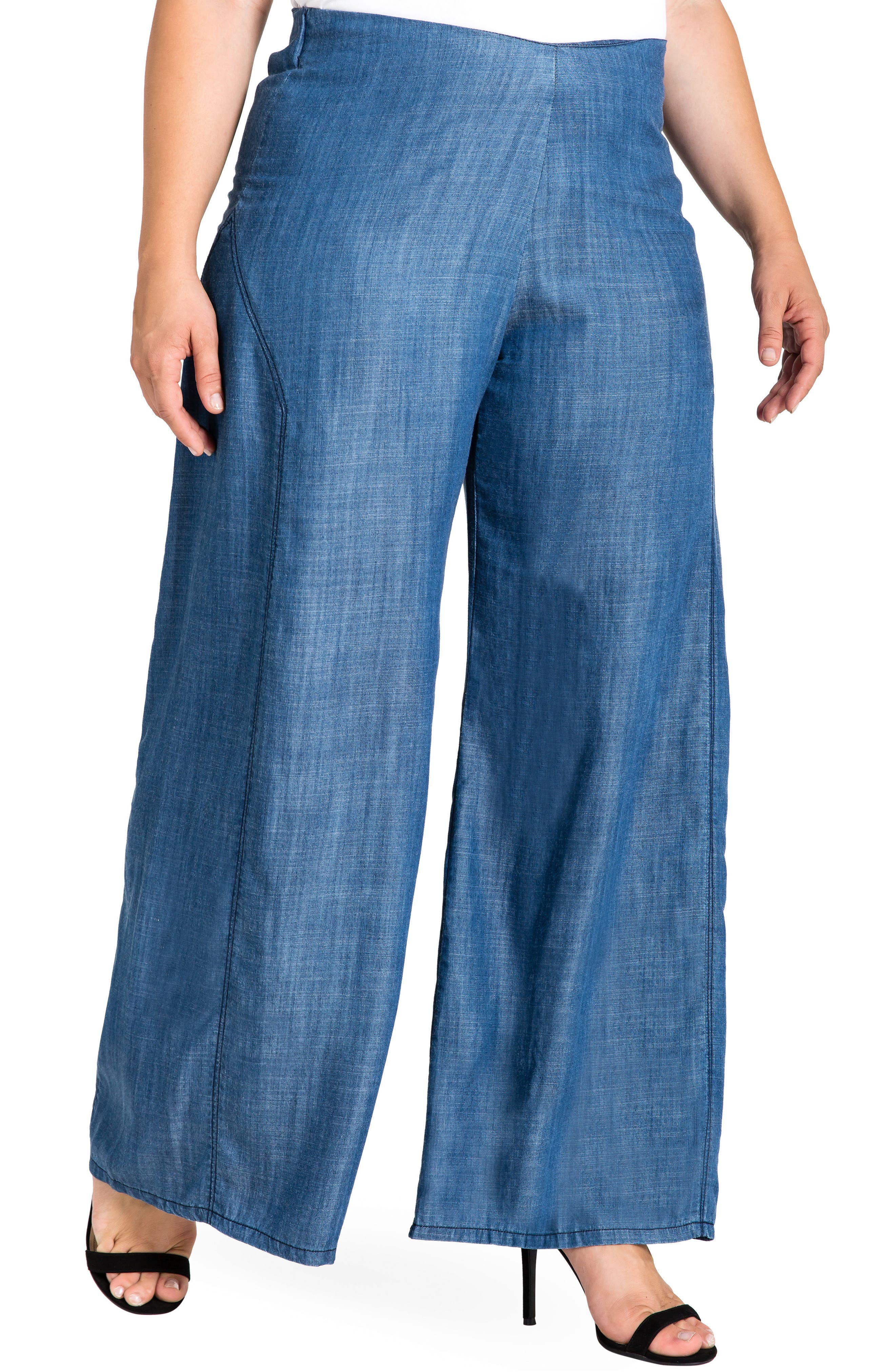 STANDARDS & PRACTICES,                             Perry Tencel<sup>®</sup> Denim Palazzo Pants,                             Main thumbnail 1, color,                             ALMOST RINSED