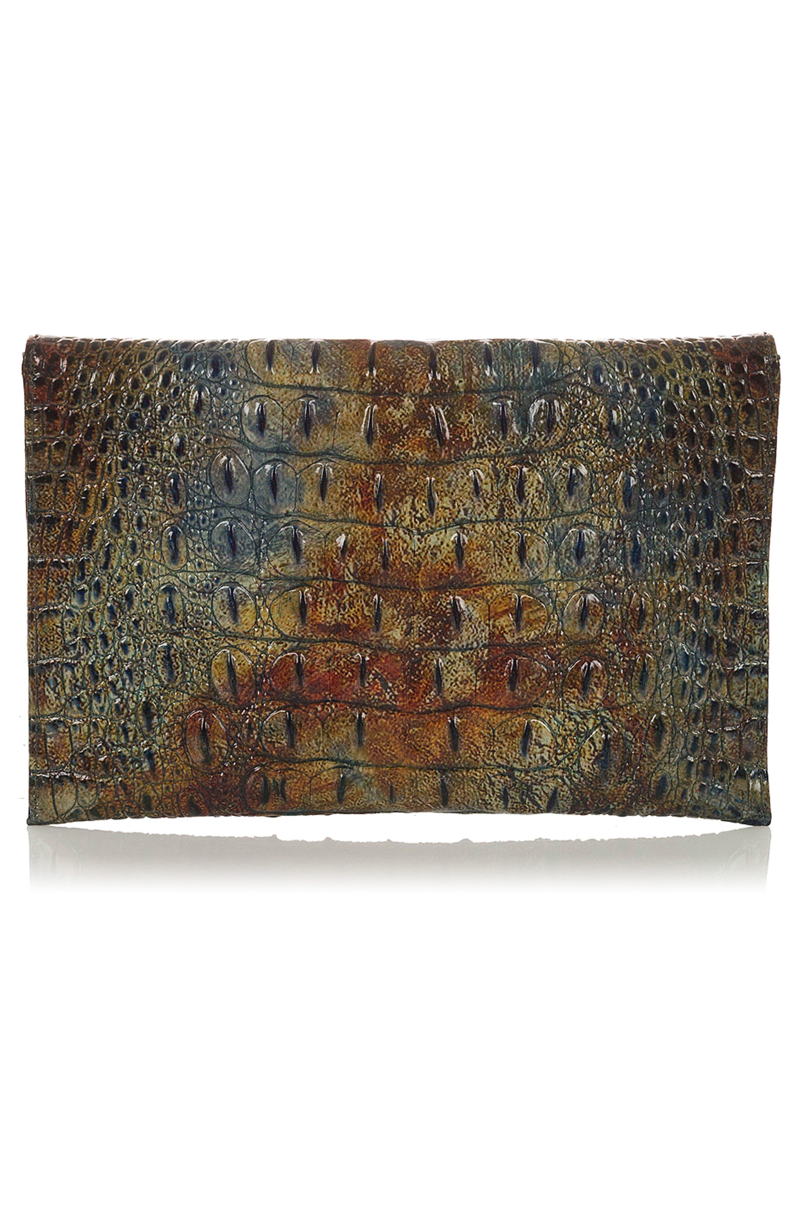 BRAHMIN,                             Melbourne Croc Embossed Leather Envelope Clutch,                             Alternate thumbnail 2, color,                             204