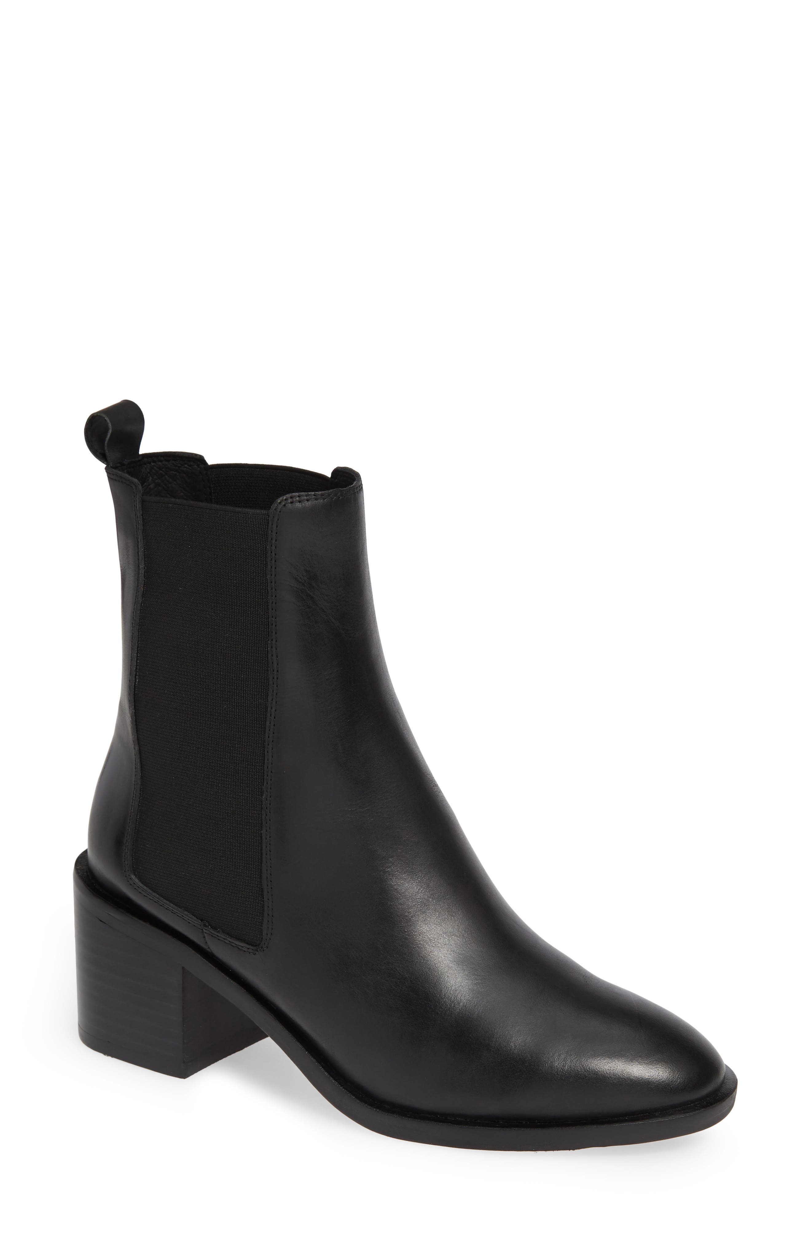 Gail Chelsea Bootie in Black Leather