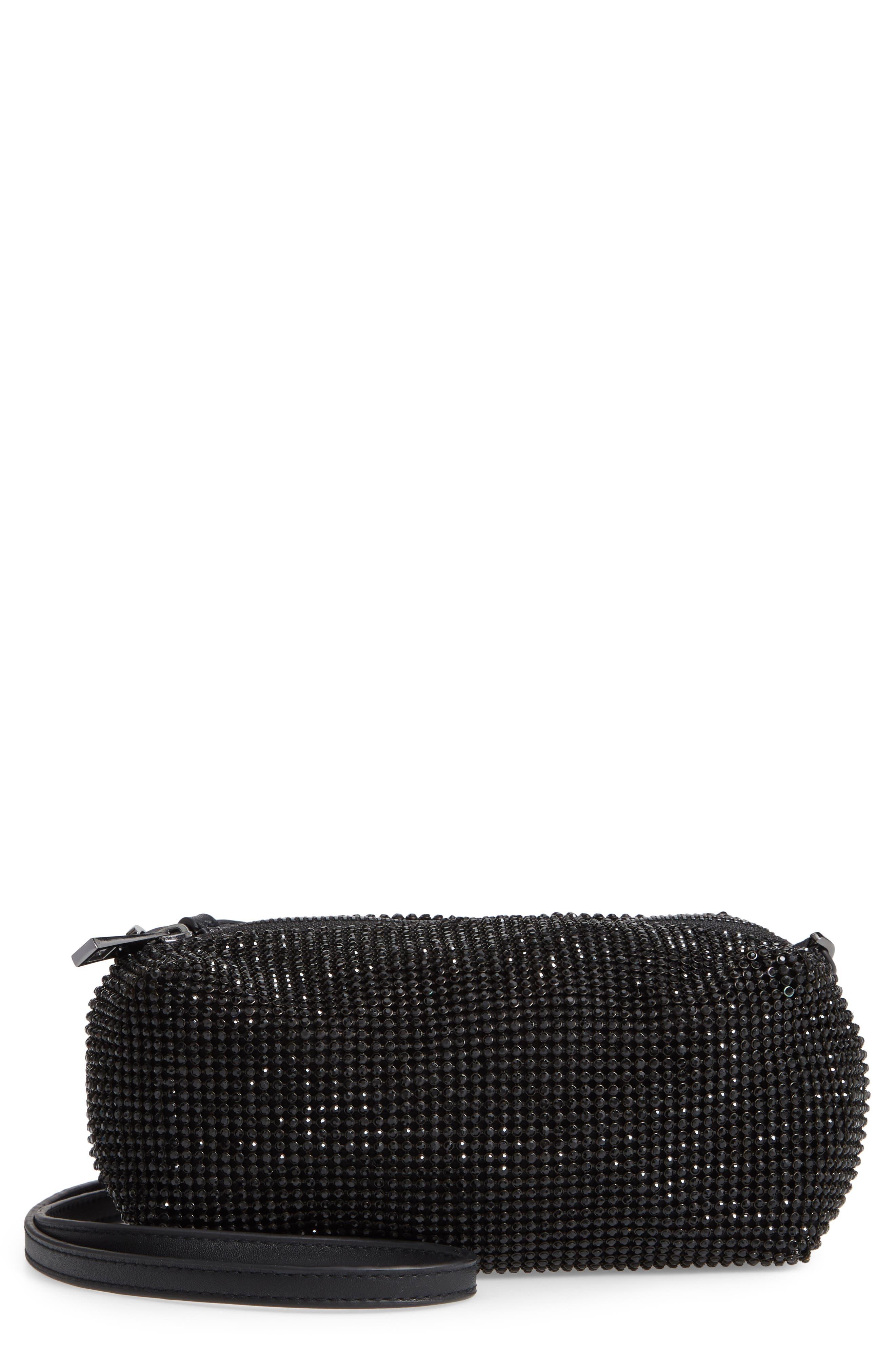 Chia Crystal Embellished Crossbody Bag,                         Main,                         color, BLACK