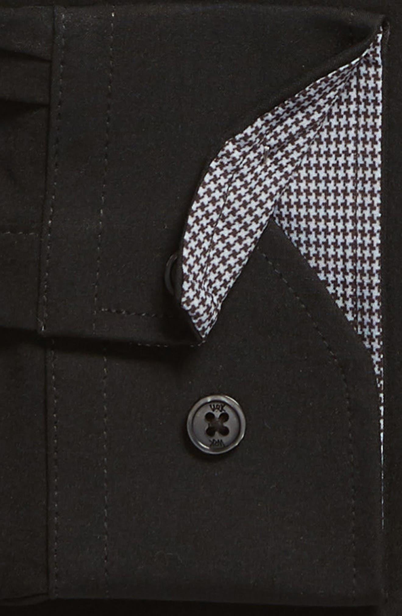 Trim Fit Stretch Solid Dress Shirt,                             Alternate thumbnail 6, color,                             BLACK