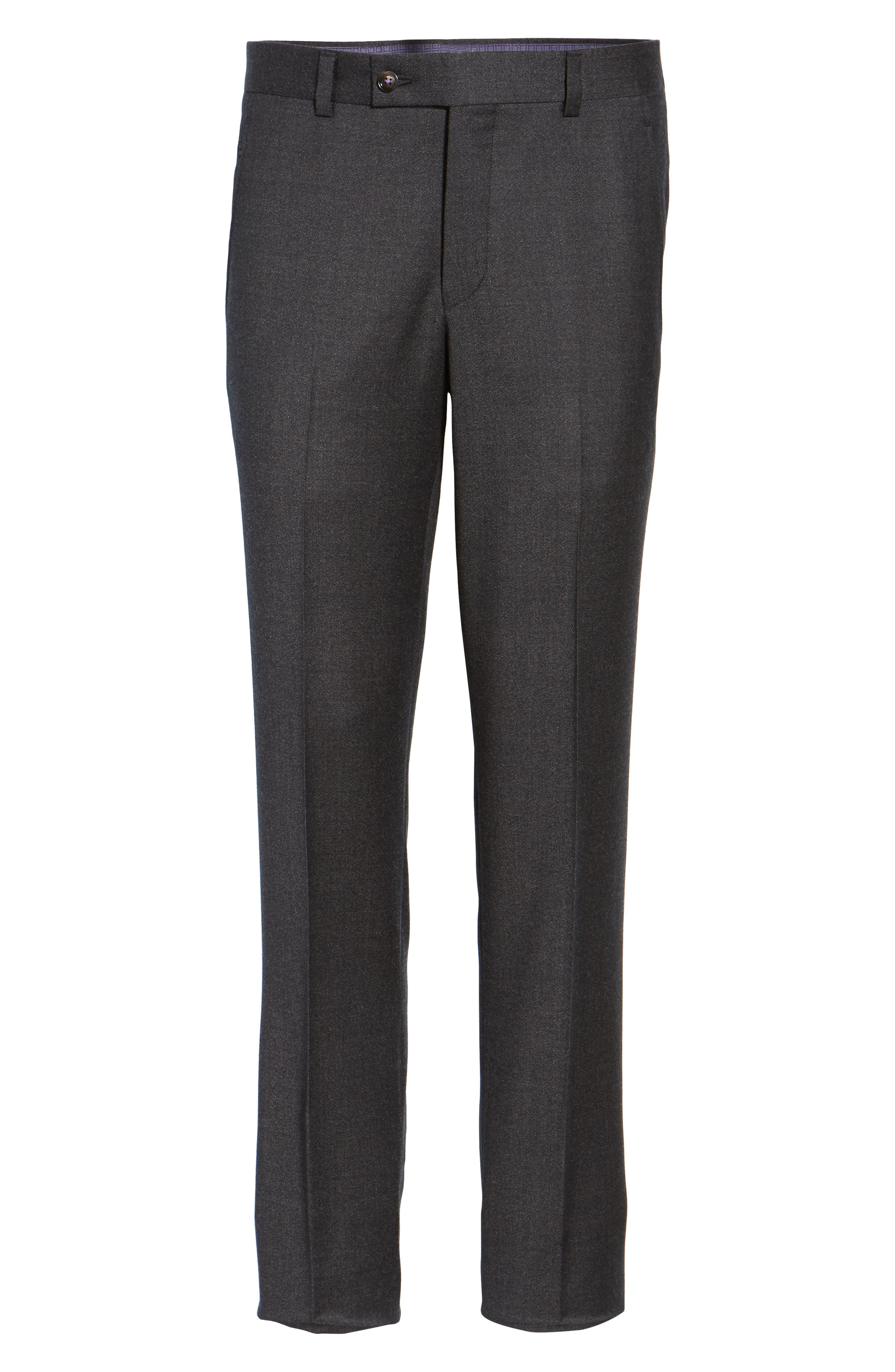 Jeremy Flat Front Solid Wool Trousers,                             Alternate thumbnail 6, color,                             050