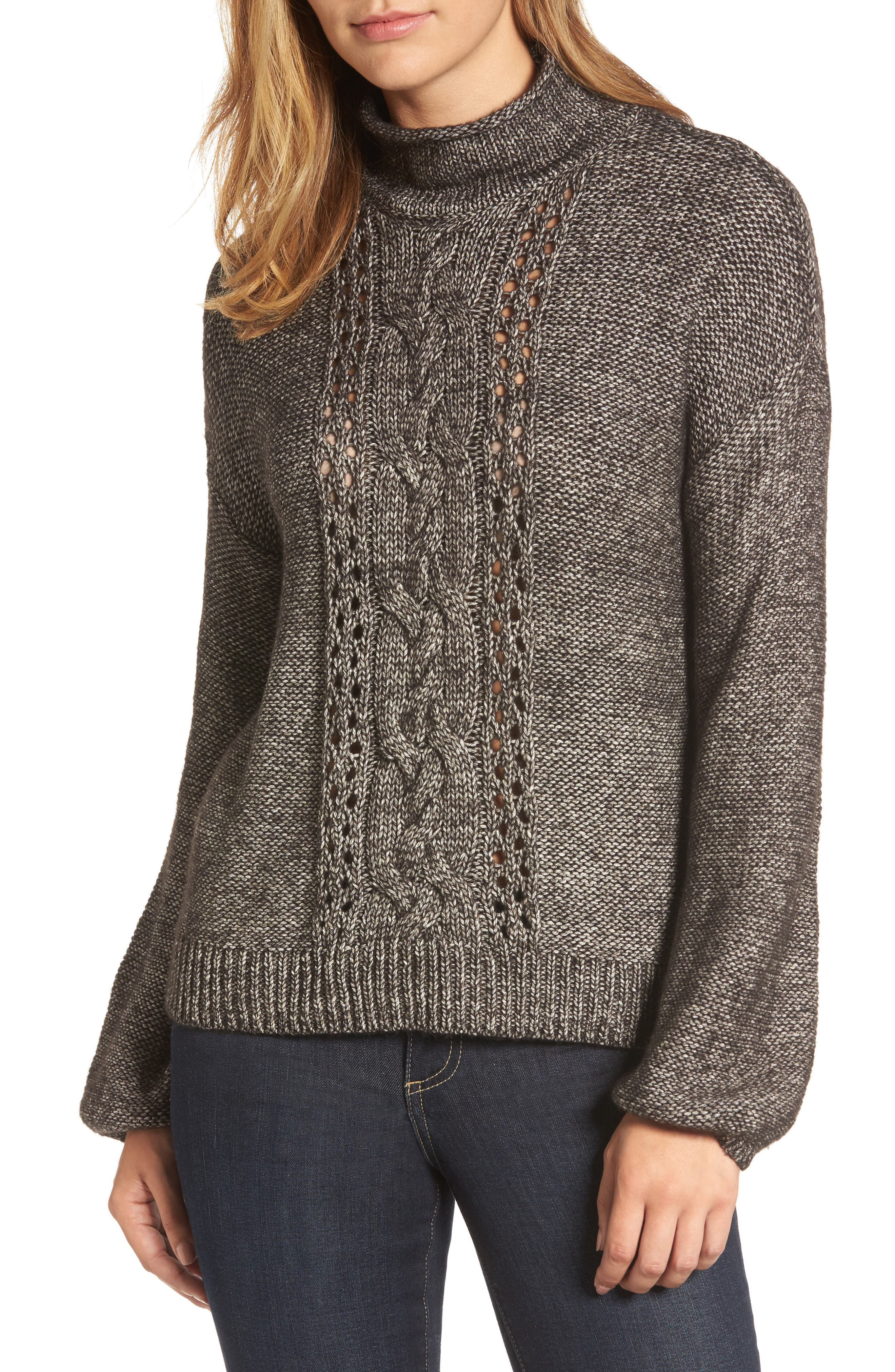 Open Cable Knit Funnel Neck Sweater,                         Main,                         color, 001
