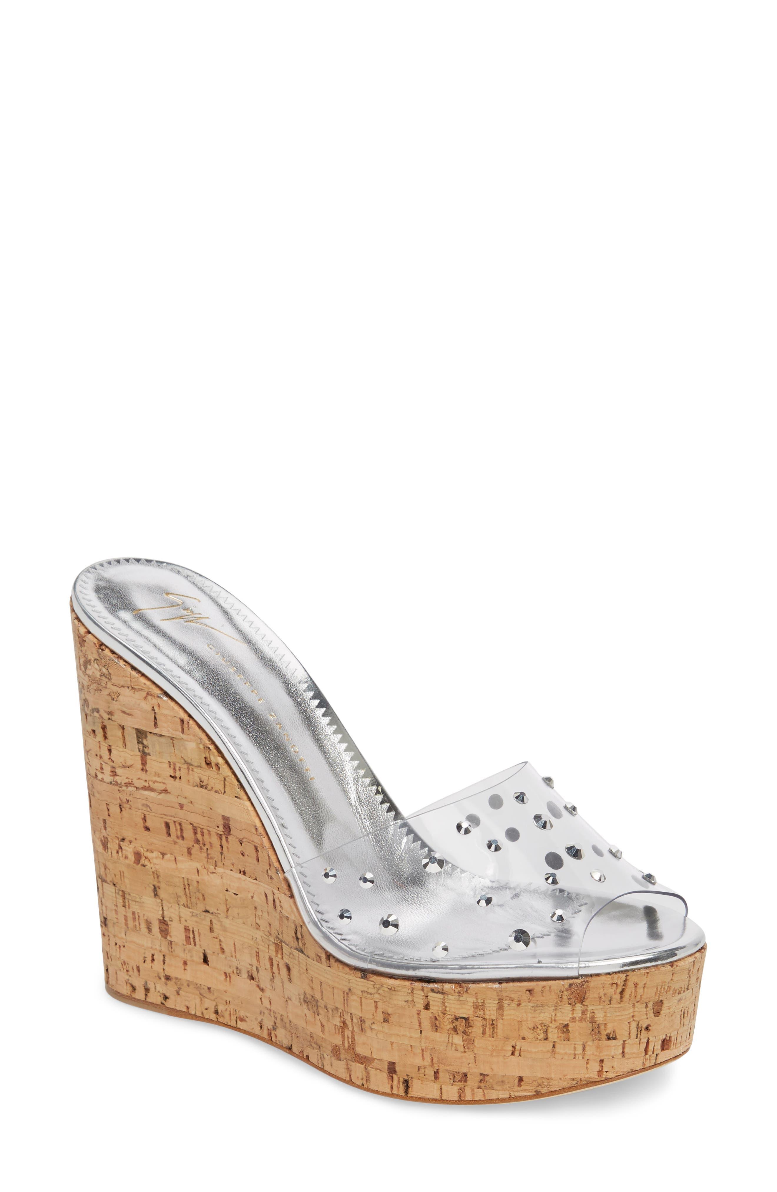 Clear Studded Platform Wedge Sandal,                             Main thumbnail 1, color,                             043
