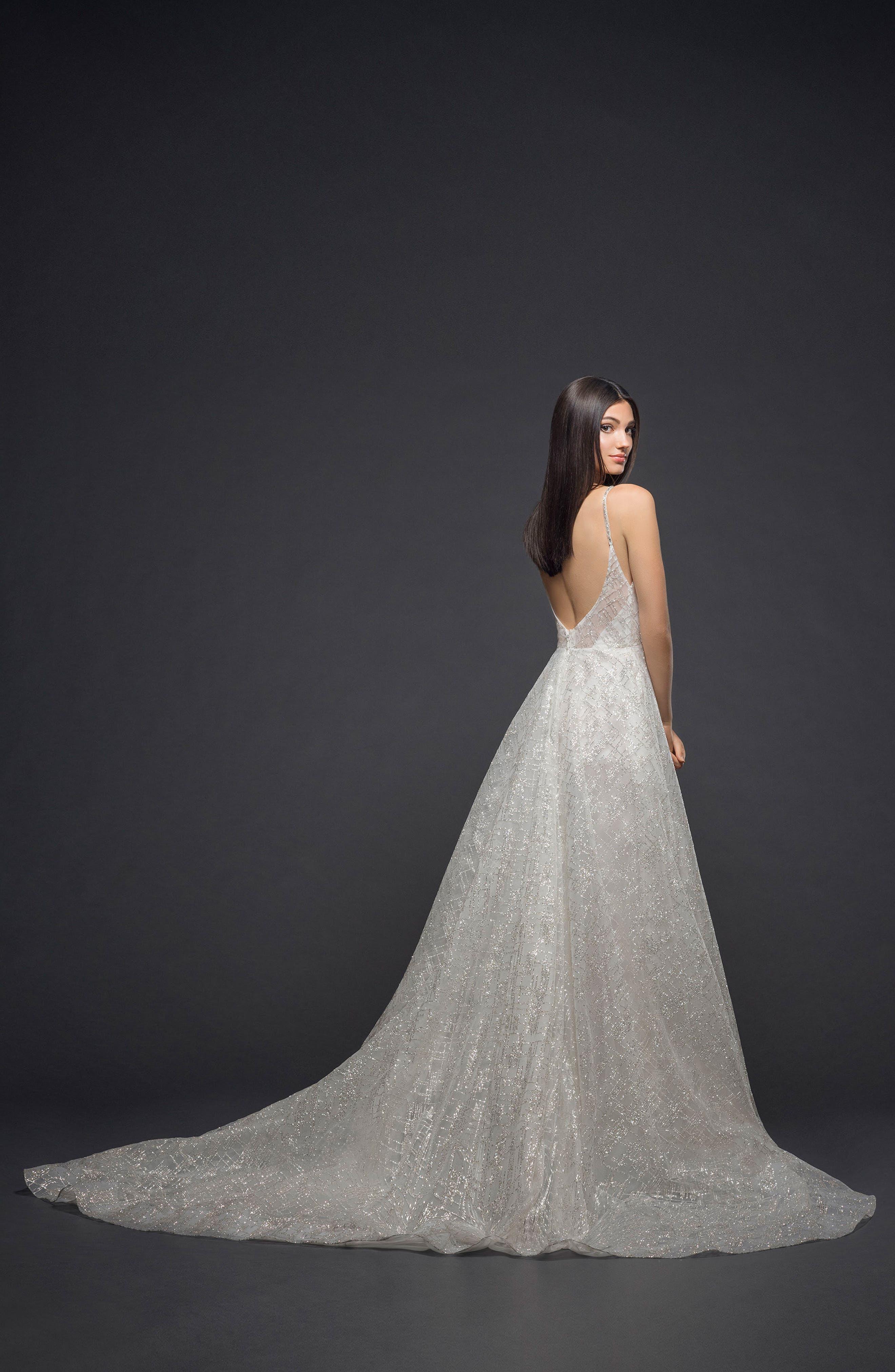 Sparkle Plaid Tulle A-Line Gown,                             Alternate thumbnail 2, color,                             IVORY