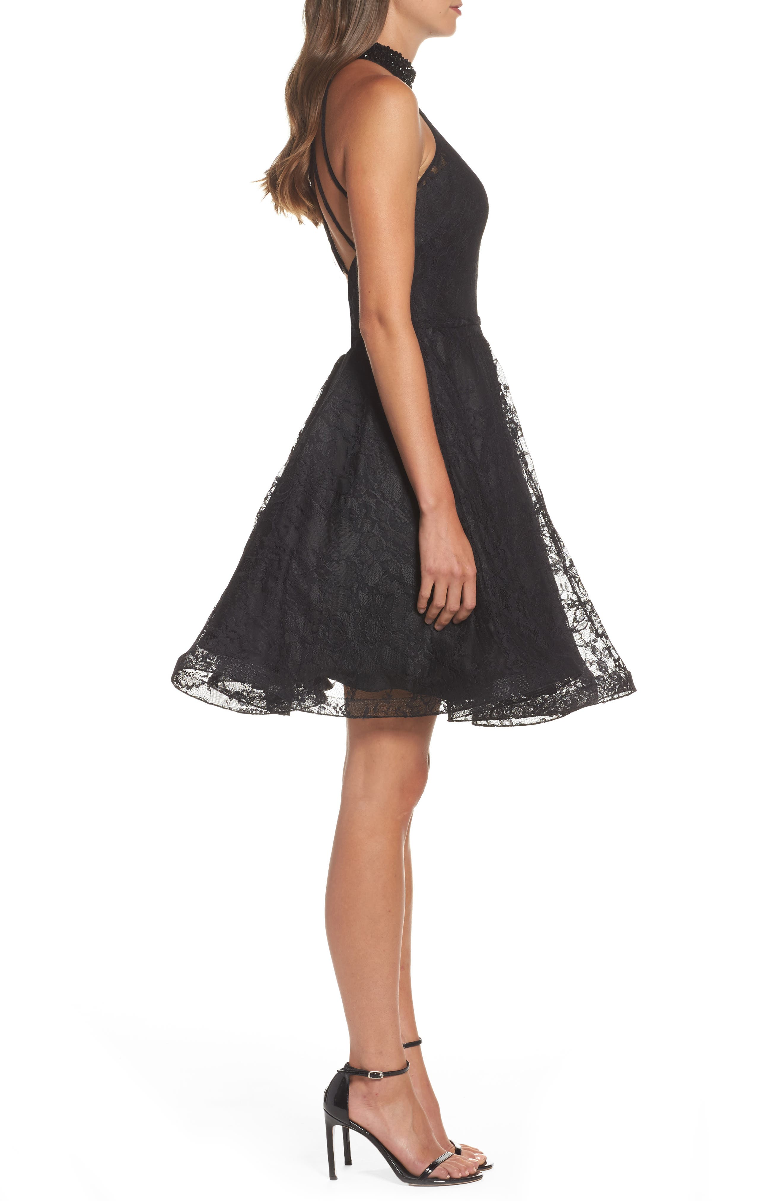 Beaded Lace Fit & Flare Dress,                             Alternate thumbnail 3, color,                             001