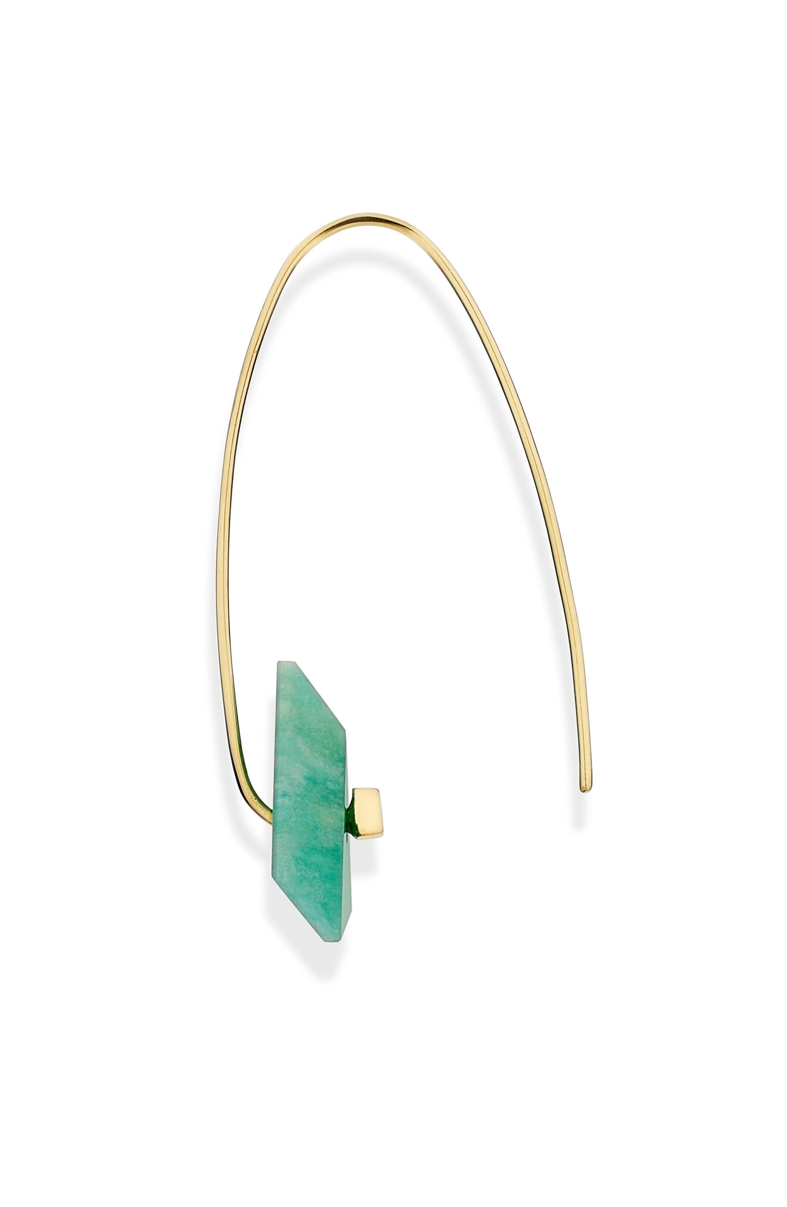 Reverse Fit Amazonite & Diamond Triangle Earrings,                             Alternate thumbnail 2, color,                             300
