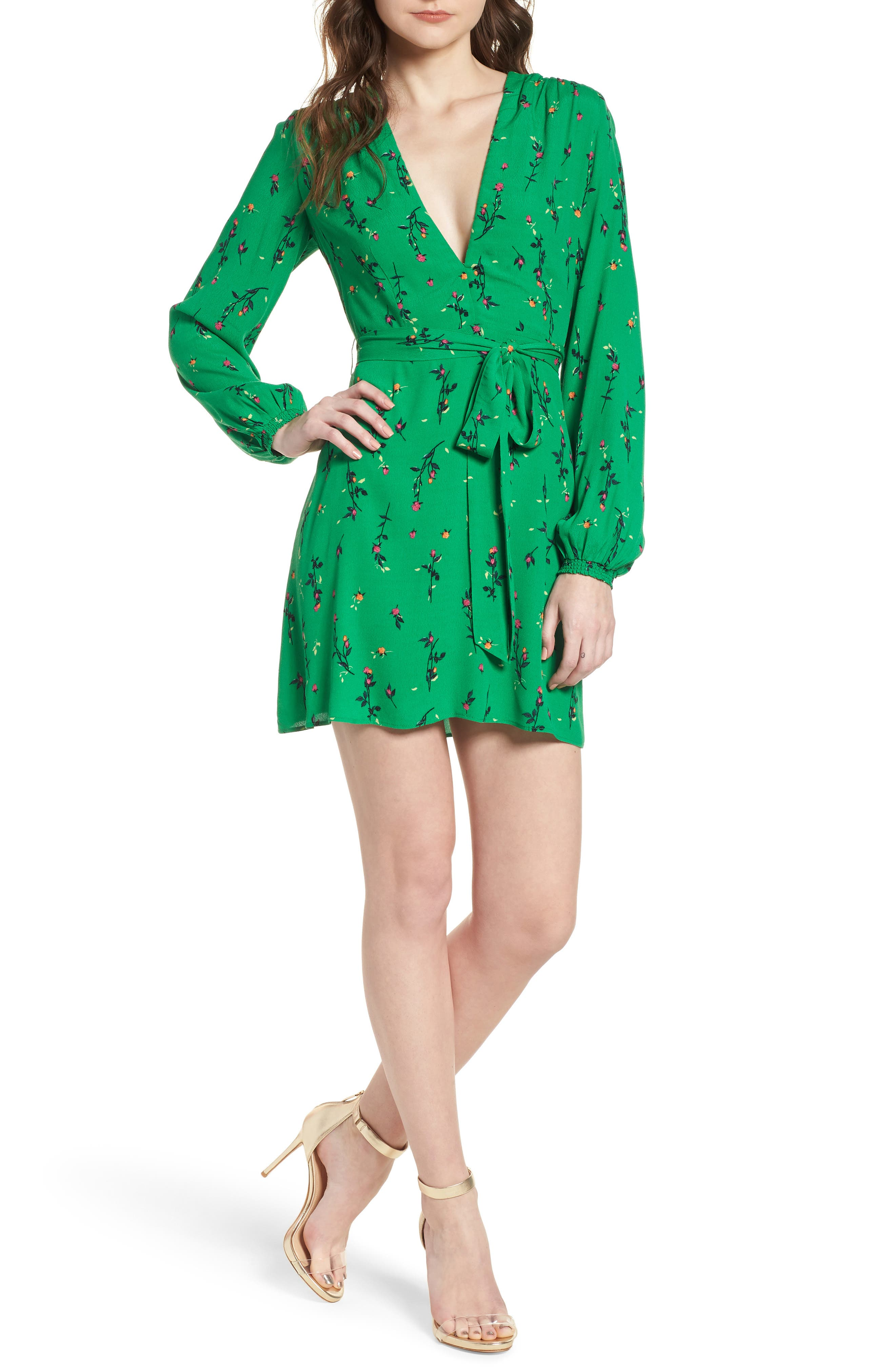Piper Satin Open Back Dress,                             Main thumbnail 1, color,                             GREEN DITSY ROSE