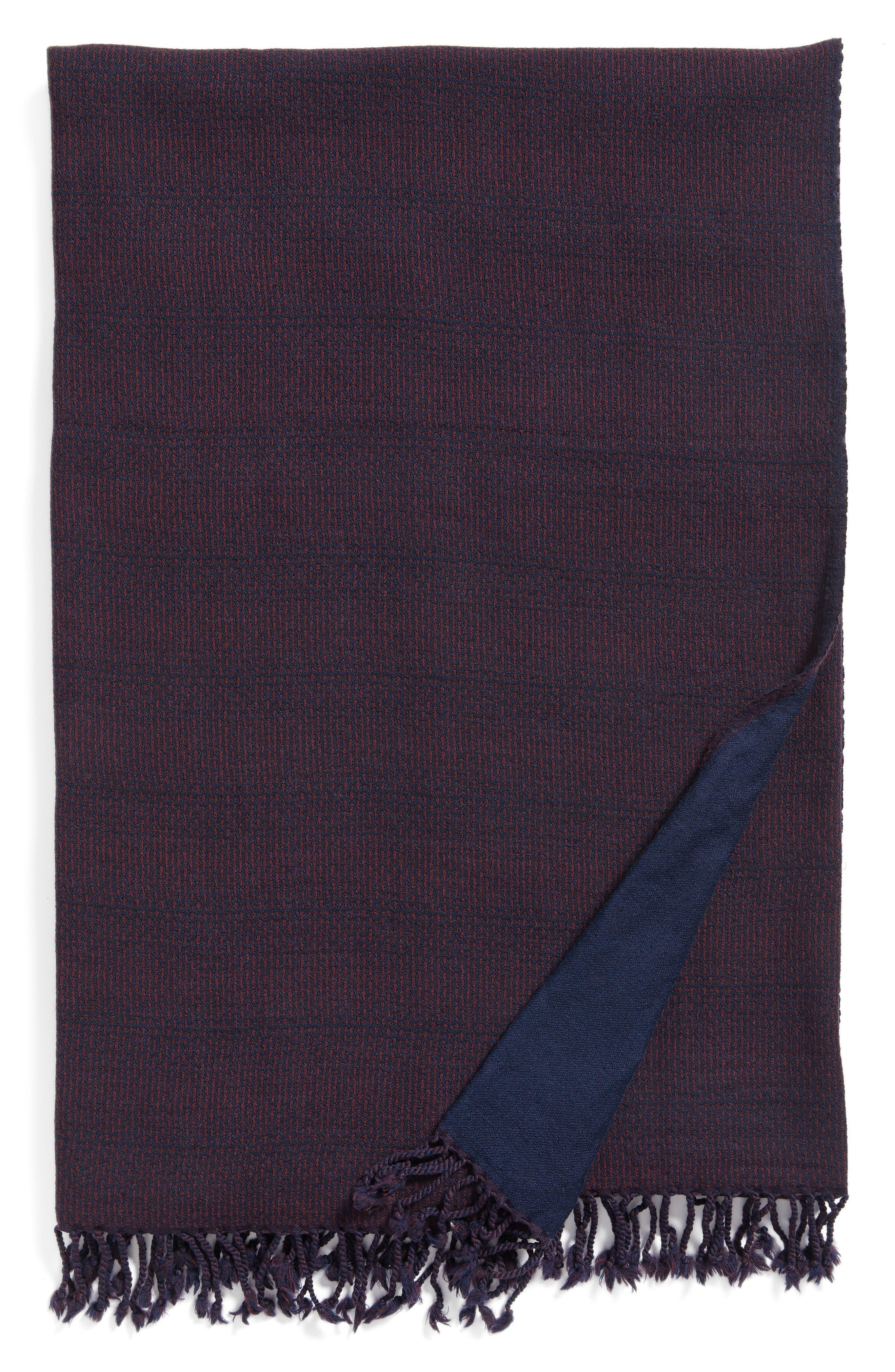 Stipple Stripe Double Face Merino Wool Throw,                         Main,                         color, STIPPLE STRIPE