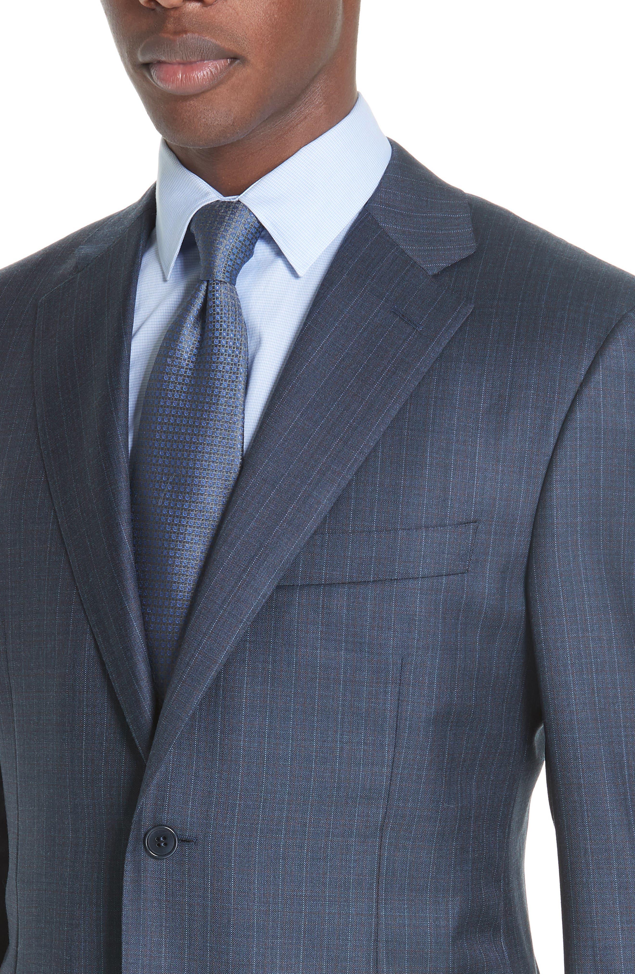 Classic Fit Stripe Wool Suit,                             Alternate thumbnail 4, color,                             400