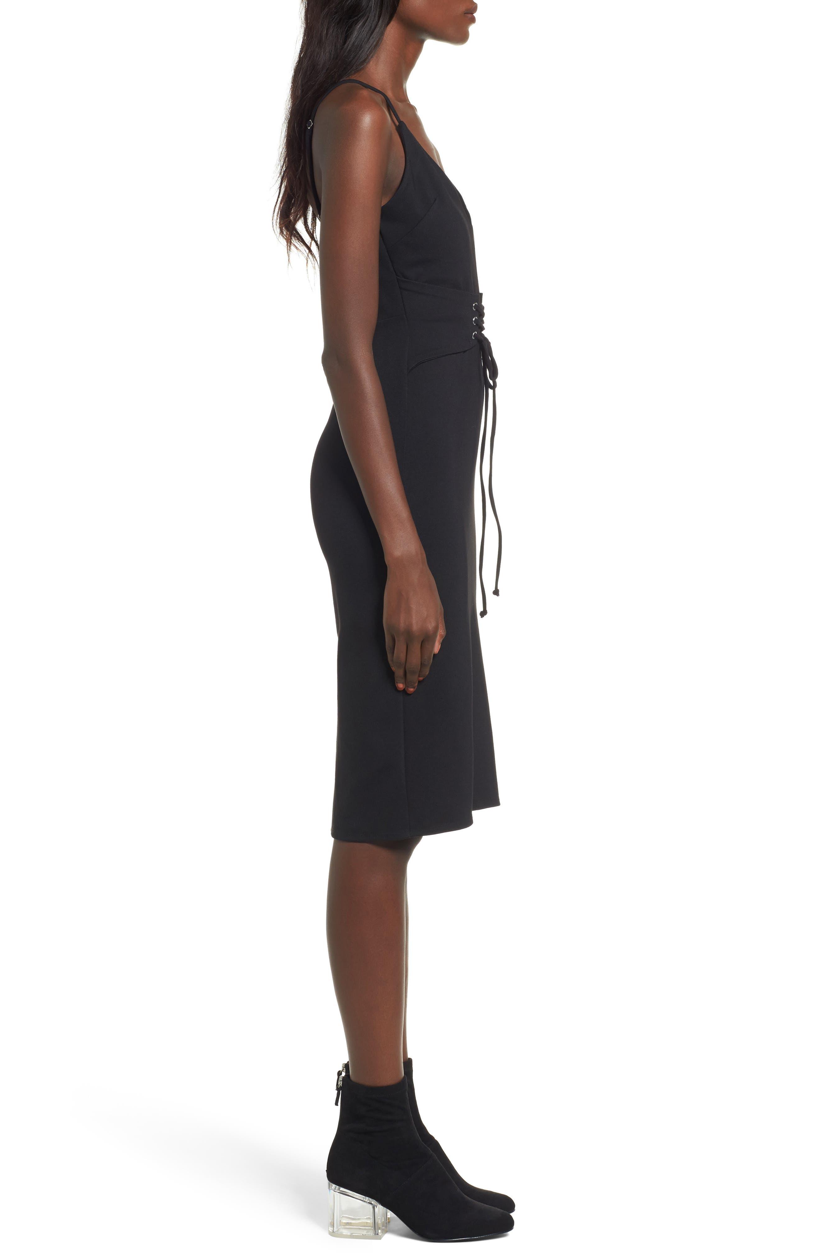 Corset Detail Body-Con Dress,                             Alternate thumbnail 3, color,                             001