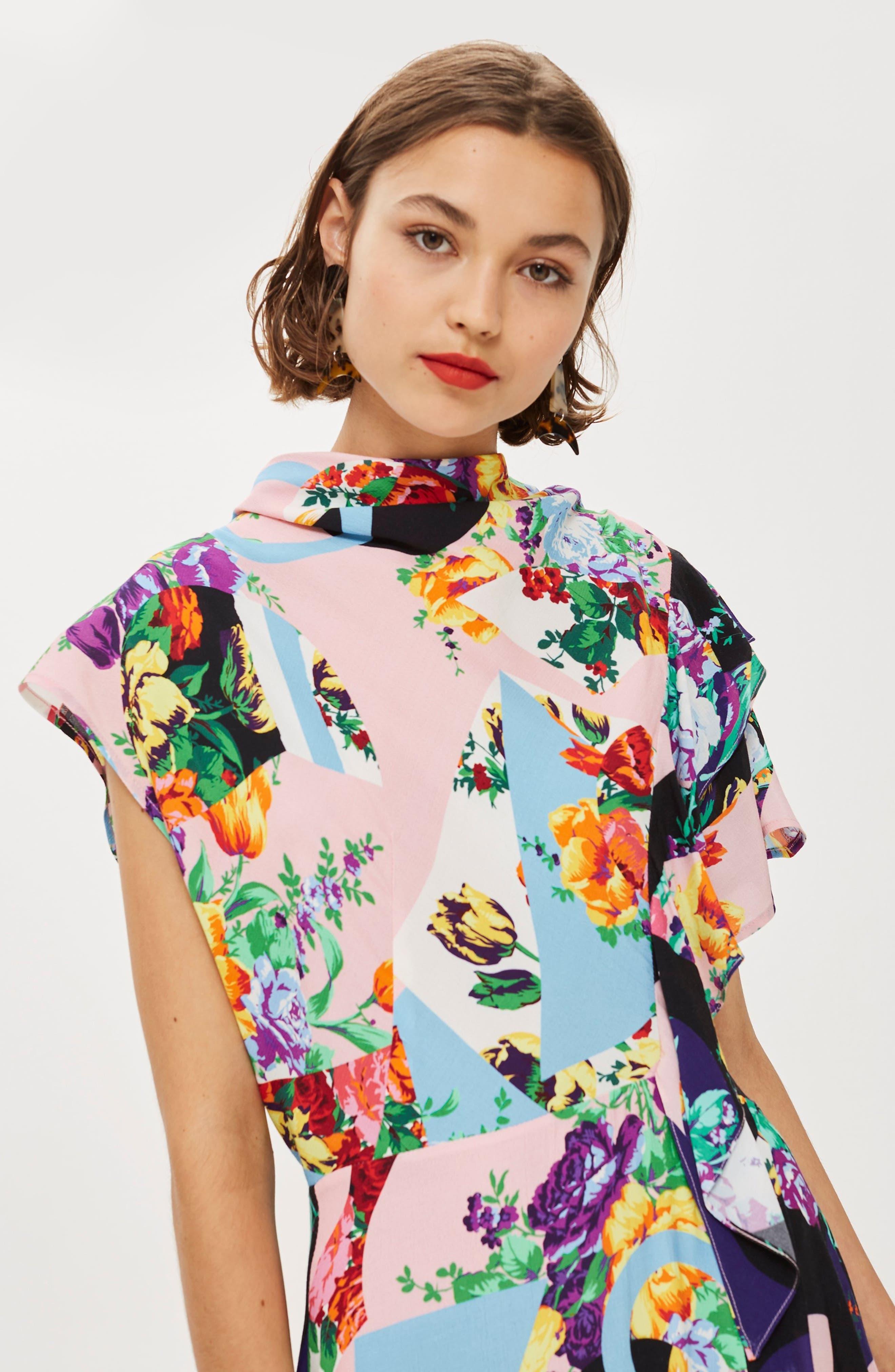 Cowl Back Midi Dress,                             Alternate thumbnail 7, color,                             PINK MULTI